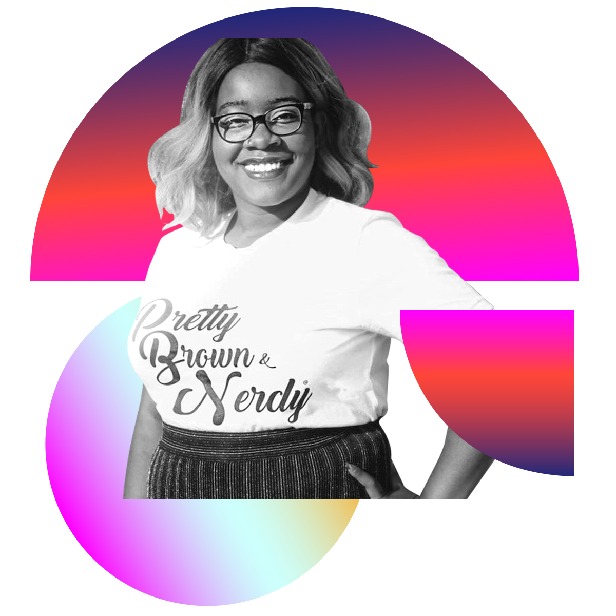Photo illustration of Clarkisha Kent in black and white surrounded by colored gradients