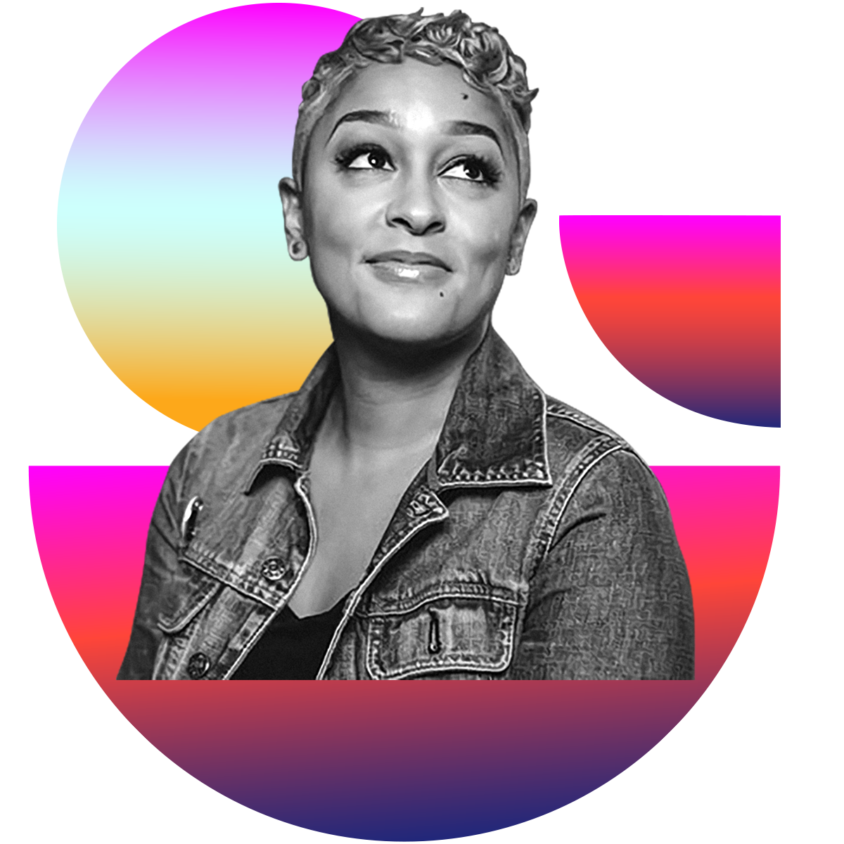 Photo illustration of Eve Ewing in black and white surrounded by colored gradients