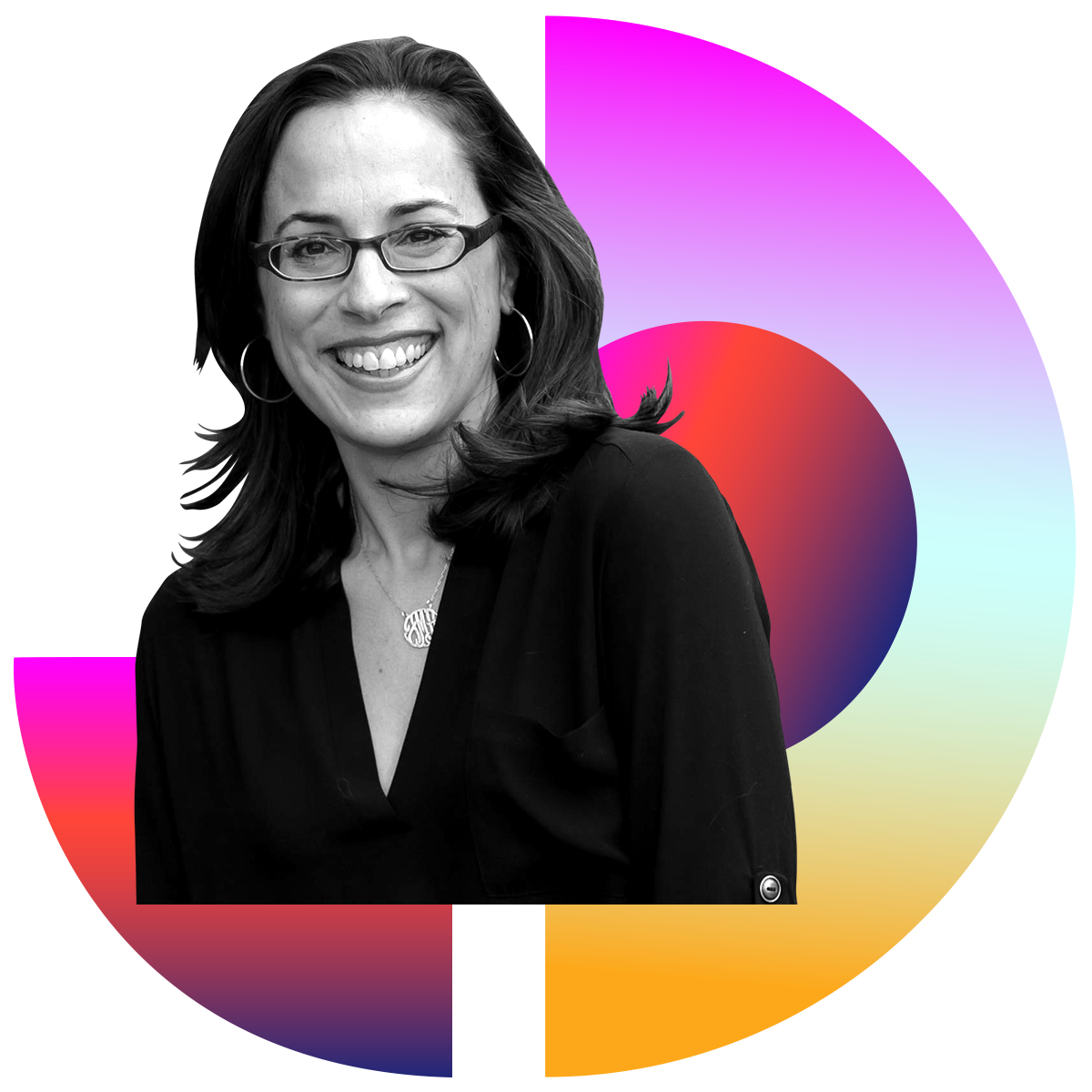 Photo illustration of Jennifer Mendelsohn in black and white surrounded by colored gradients