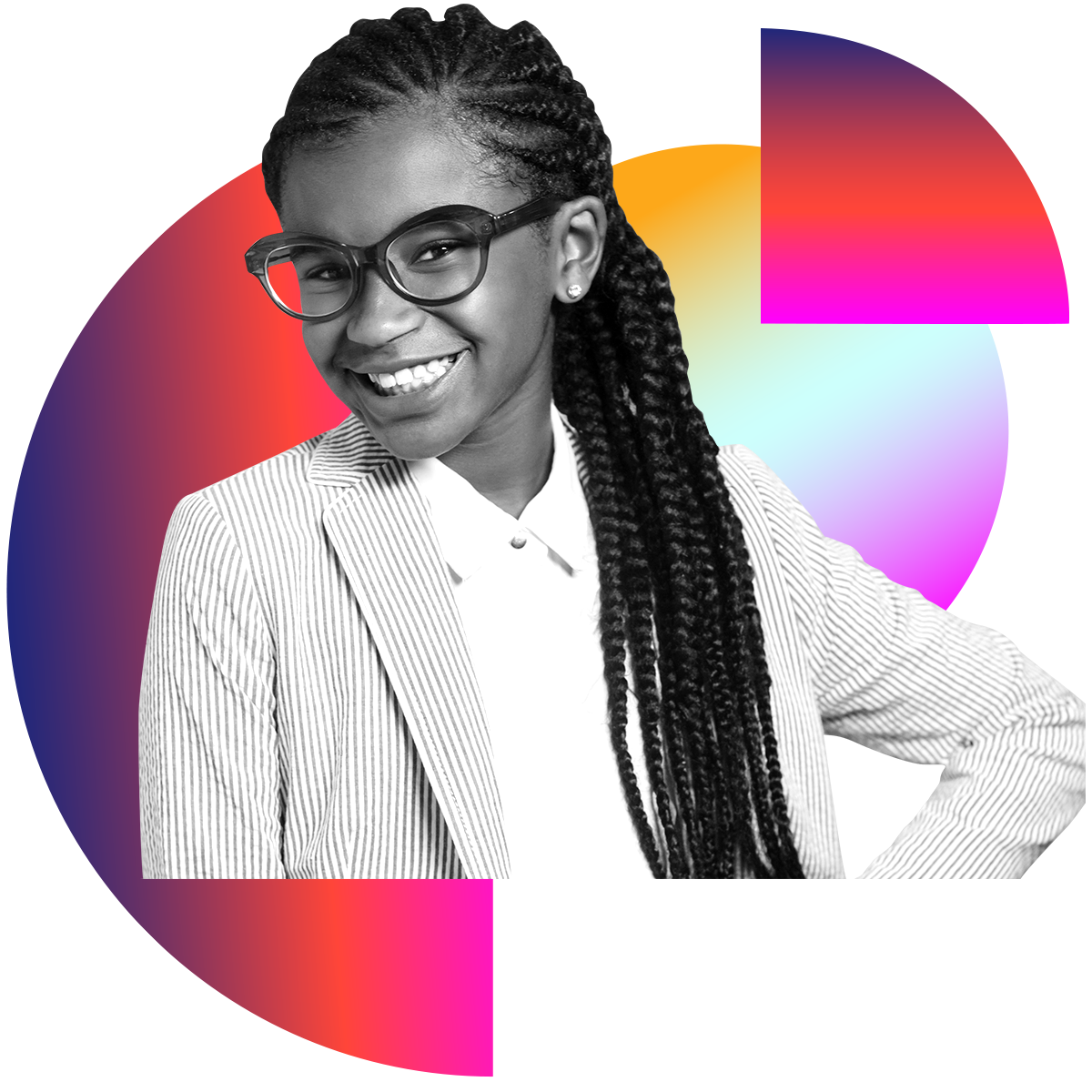 Photo illustration of Marley Dias in black and white surrounded by colored gradients