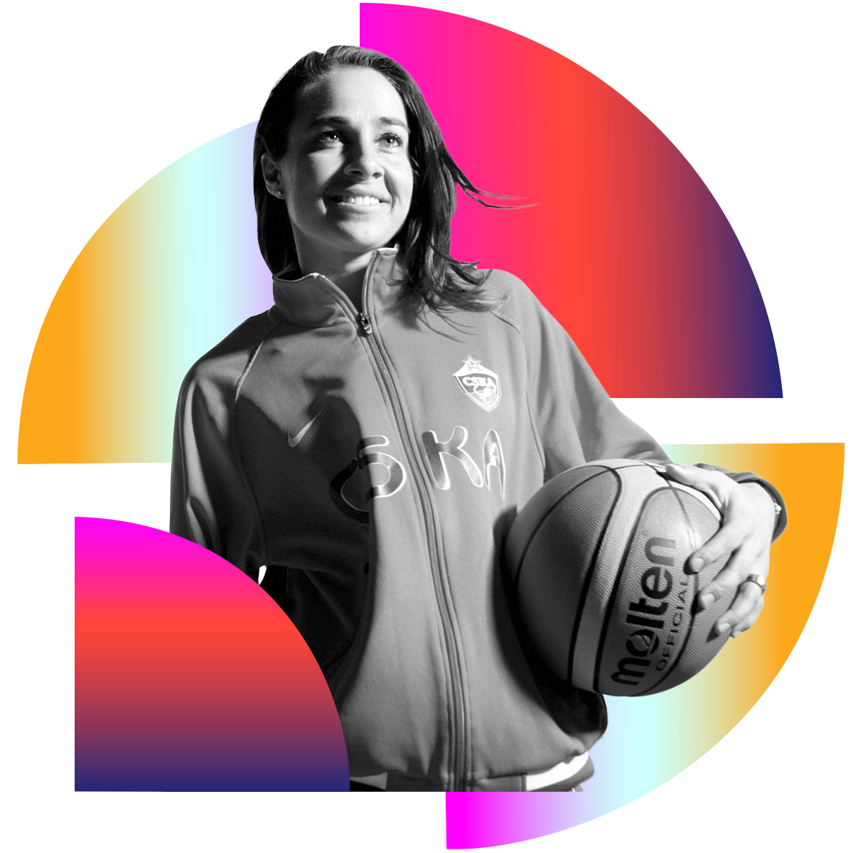 Photo illustration of Becky Hammon in black and white surrounded by colored gradients