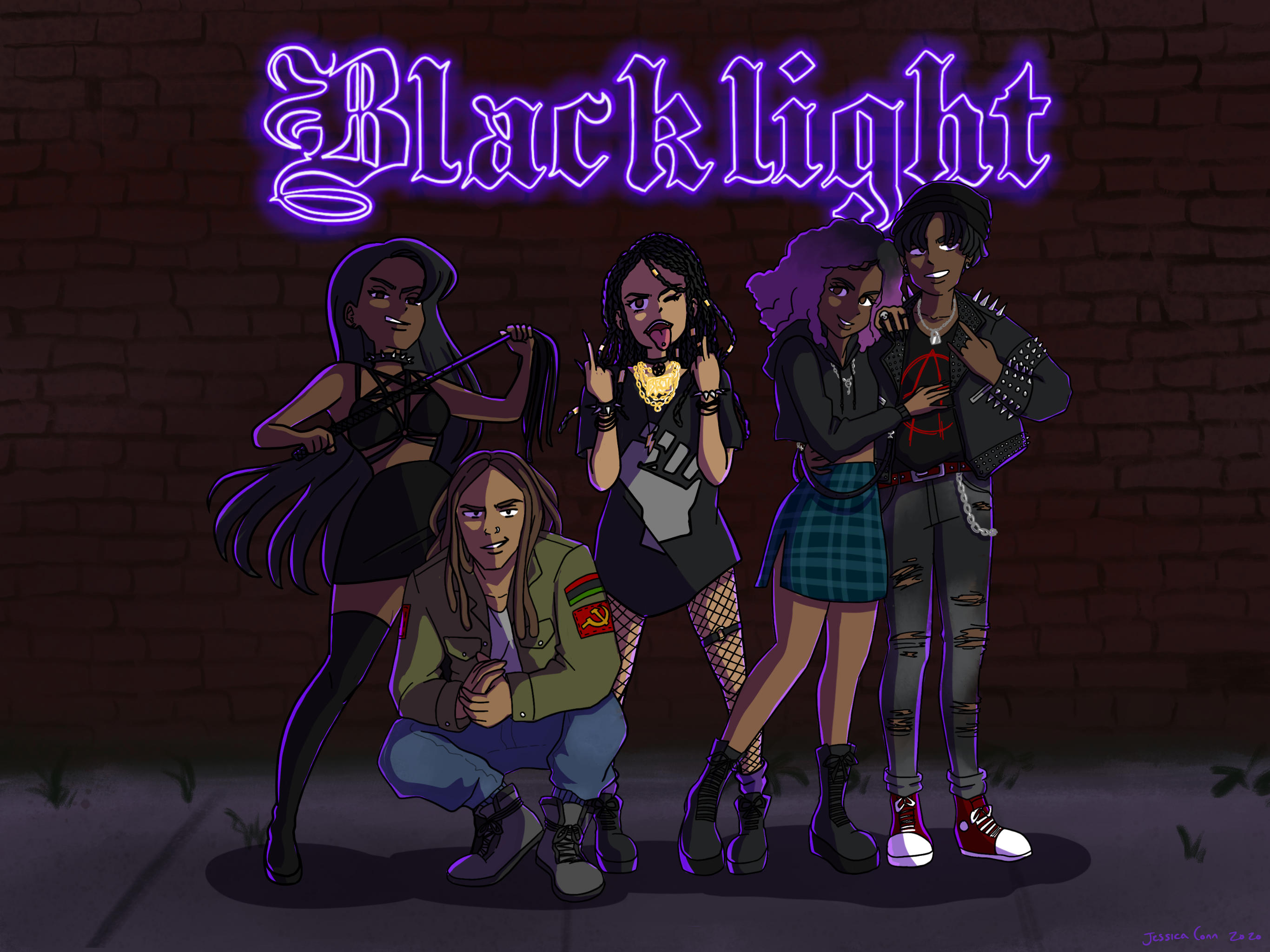 an illustration of five cartoons standing side by side against a brick wall with Blacklight in flourescent lights above
