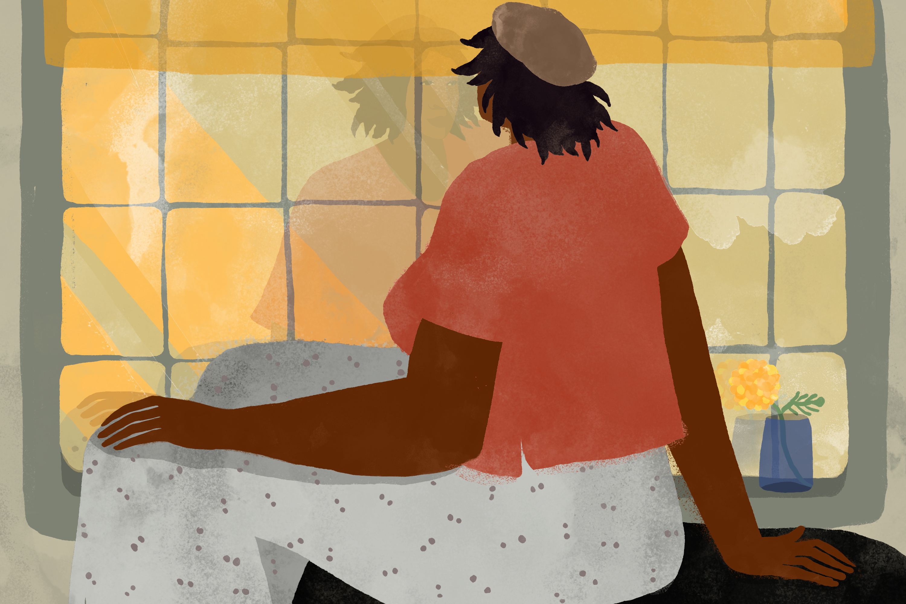 illustration of a Black woman sitting next to a single marigold and staring at her reflection in the window