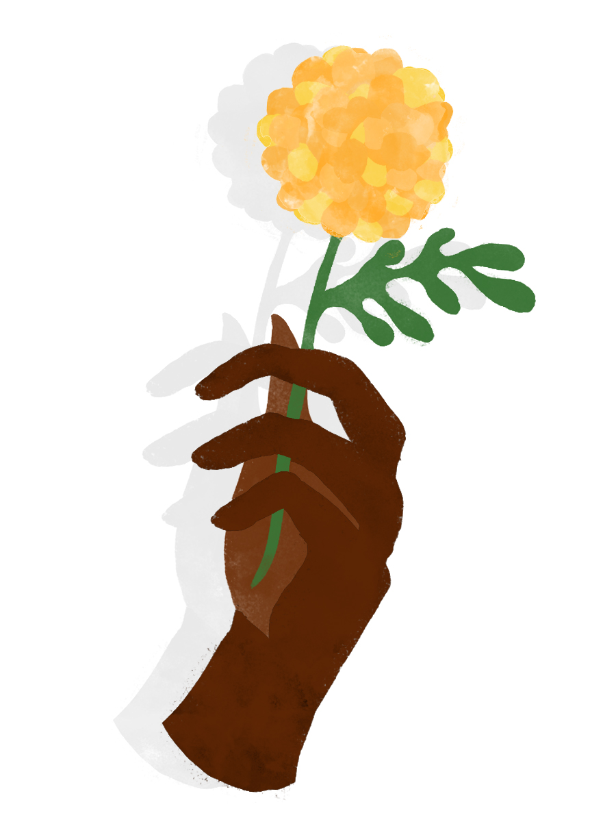 illustration of a Black person's hand holding a marigold