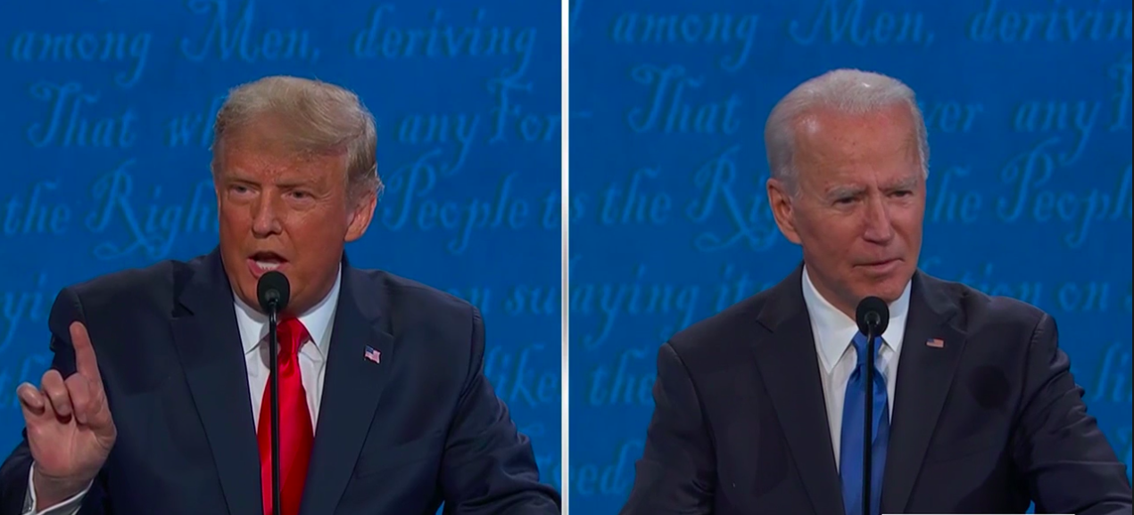 Donald Trump, a white dumpy man, stands next to Joe Biden, a white man with gray hair, during the final presidential debate