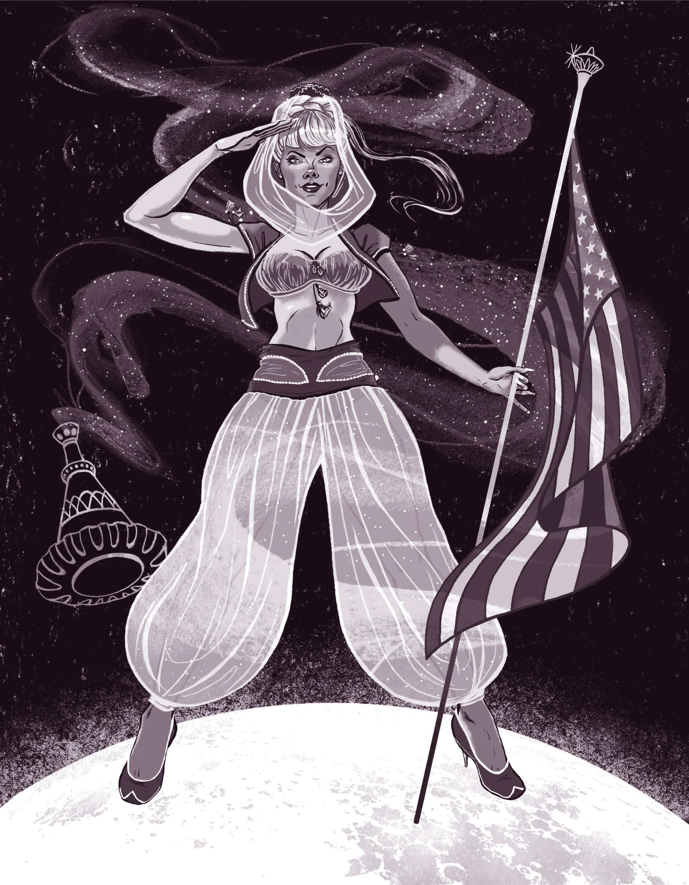 an illustration of Jeannie, a character dressed as a belly dancer and holding a flag in her