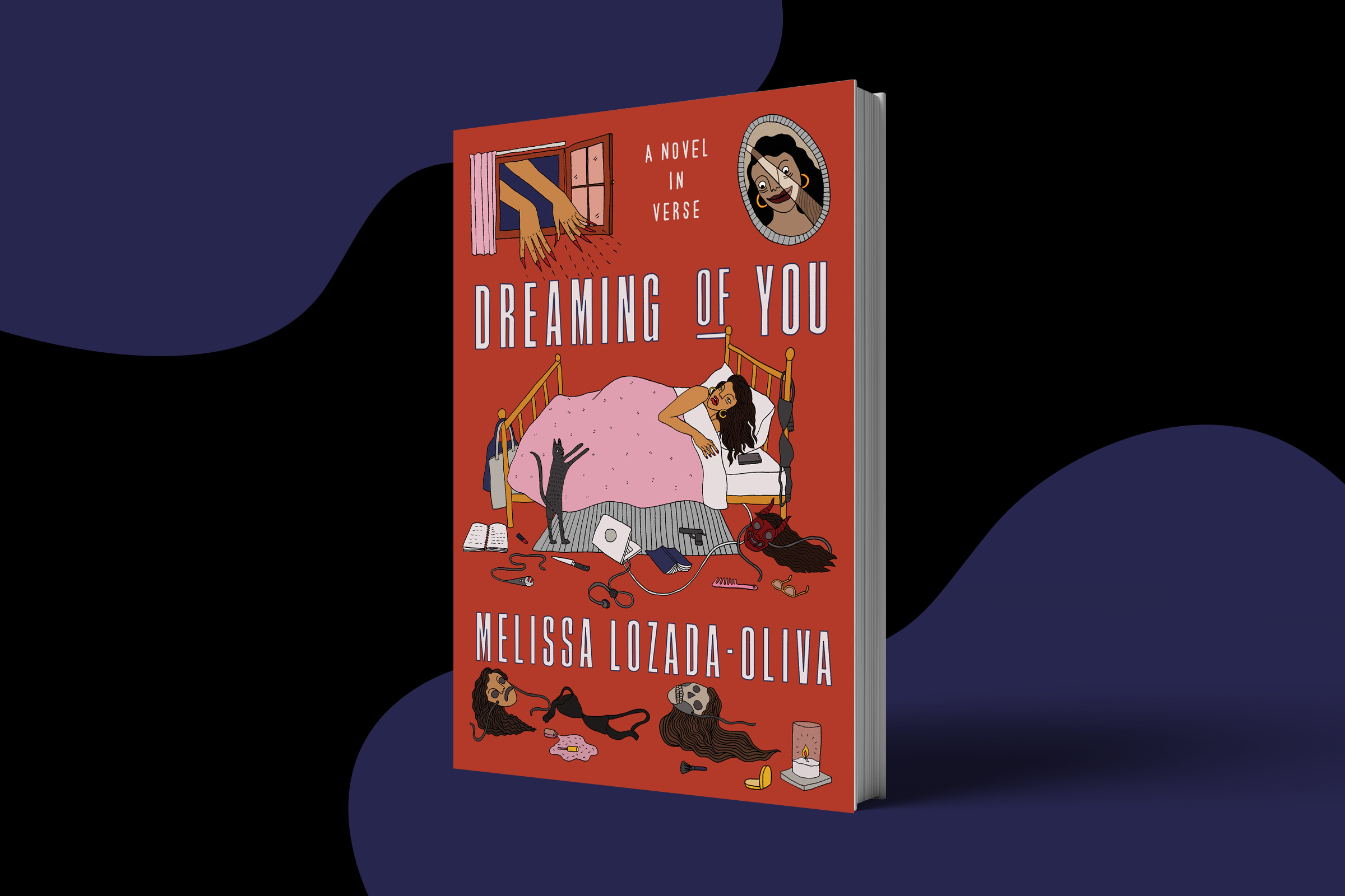 The book cover pictured shows a Latina with brown hair in her bed, surrounded by masks. She's looking up at a framed photo of another woman and the window, where there are dismembered hands reaching out to her.