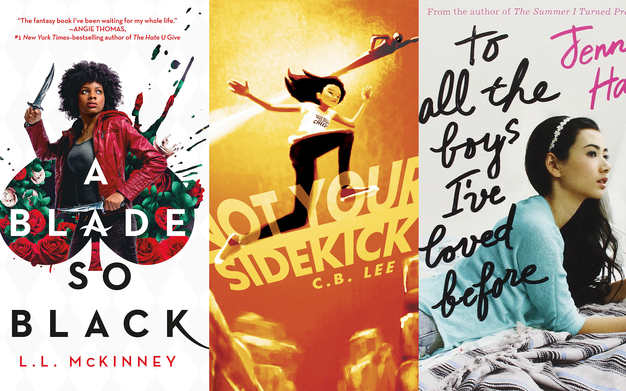Three young adult novels collaged together featuring a variety of characters.