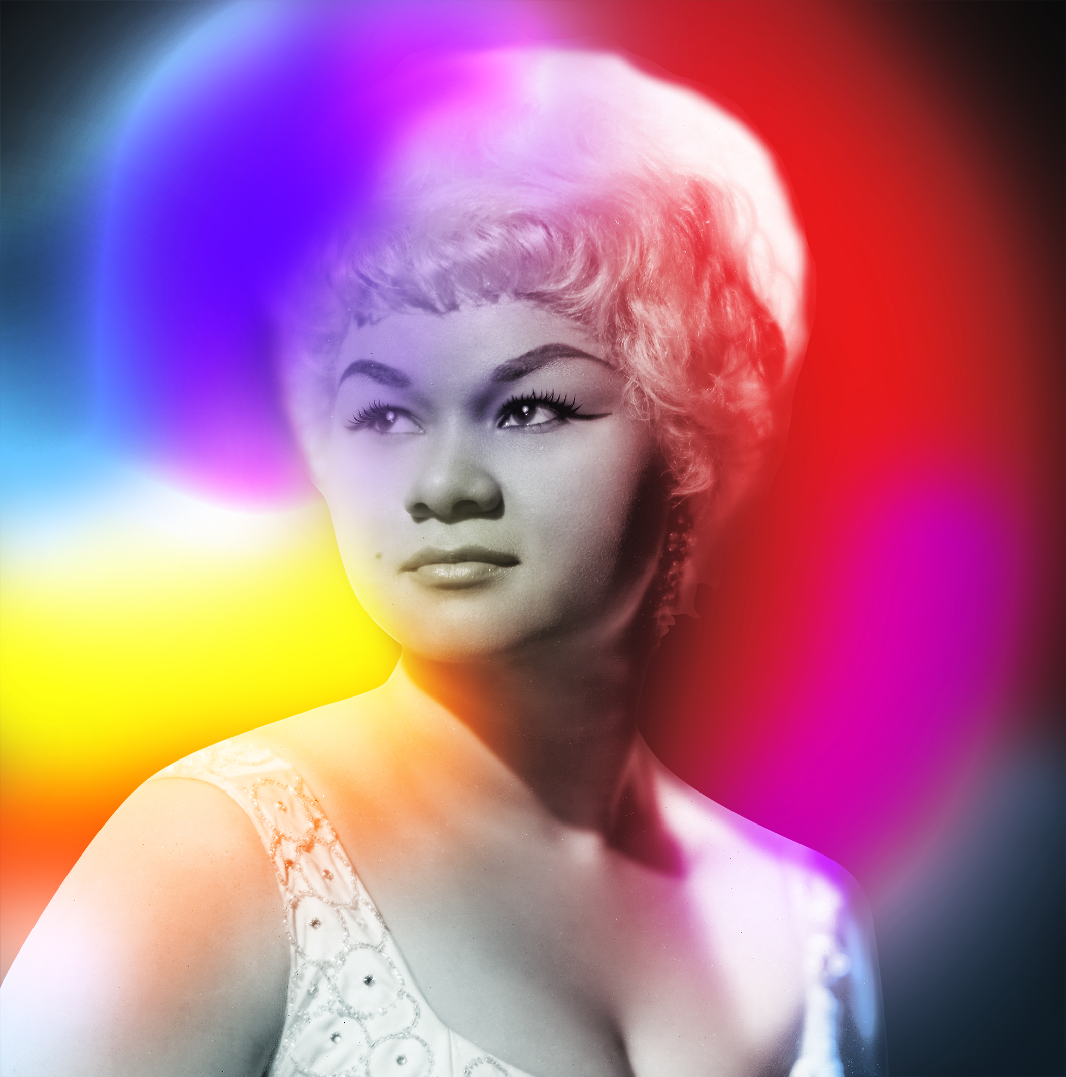 American R&B/soul singer Etta James with abstract aura photography colors