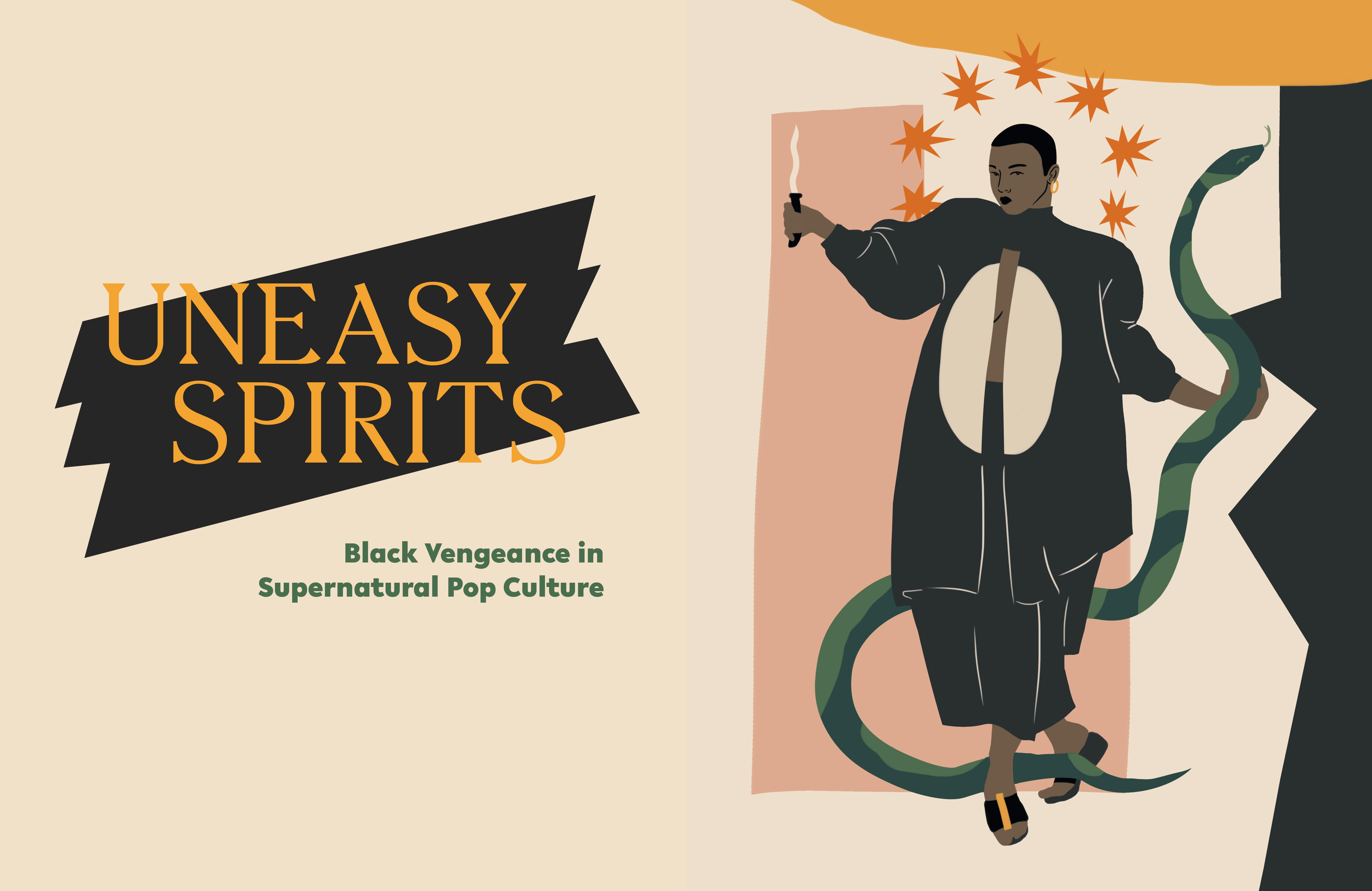 Uneasy Spirits header image of a Black woman in oversized clothing holding a serpent in her left hand and a dagger with a star halo around her head