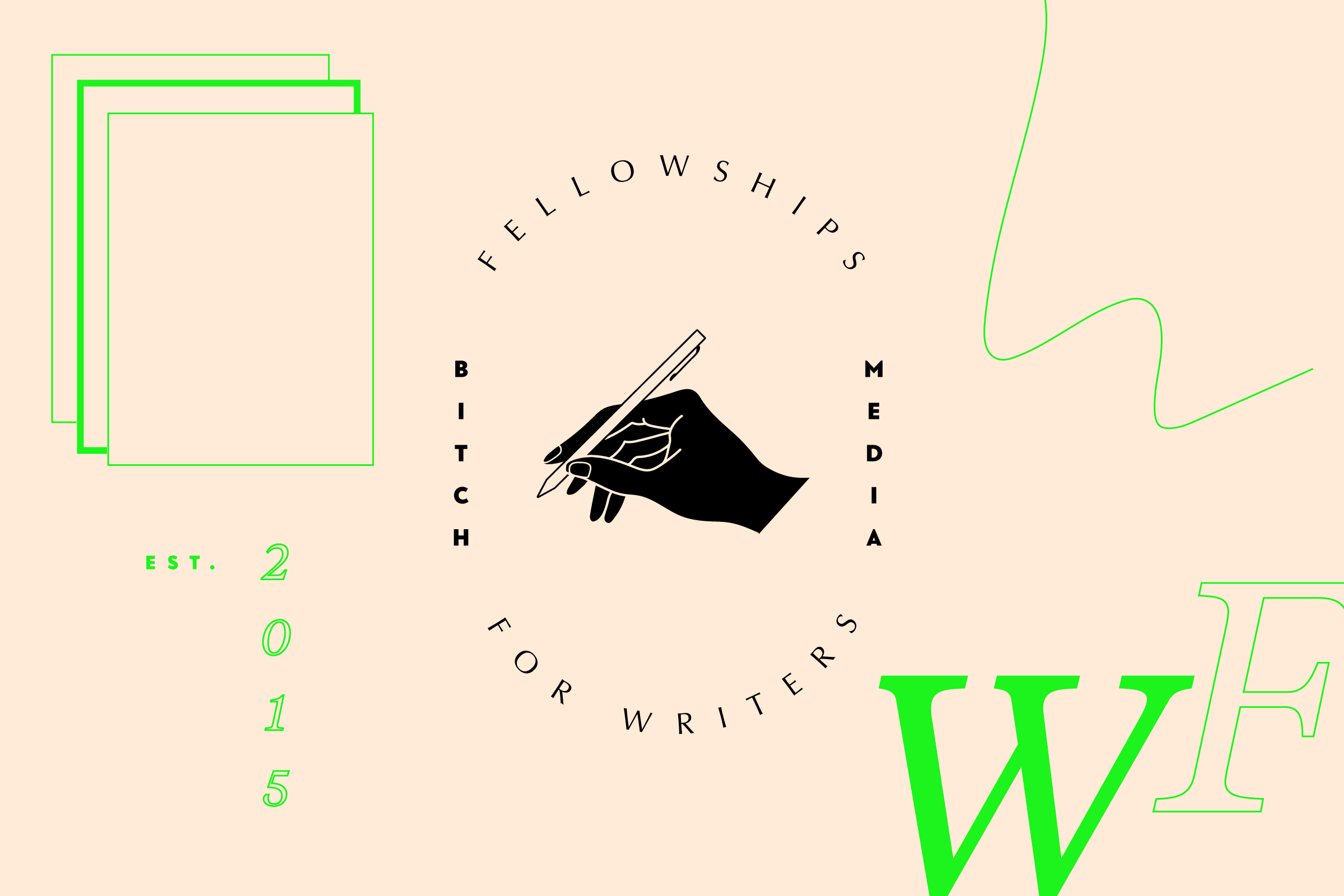 Fellowships for Writers header image of a cream background with the black program logo in the center and neon green illustrations surrounding it