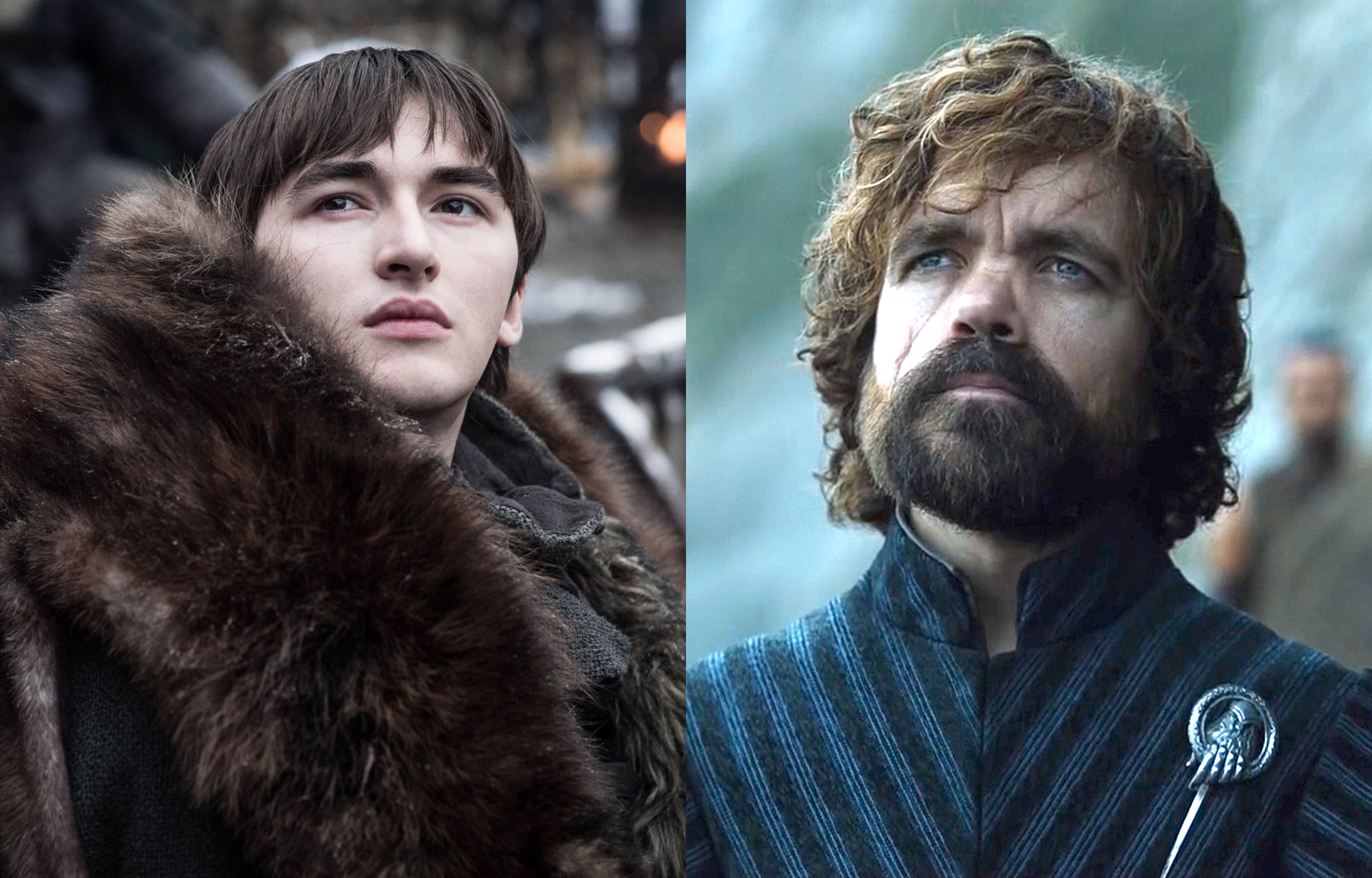 two white people—one in a wheelchair and one who is a little person—in a side-by-side photo from Game of Thrones