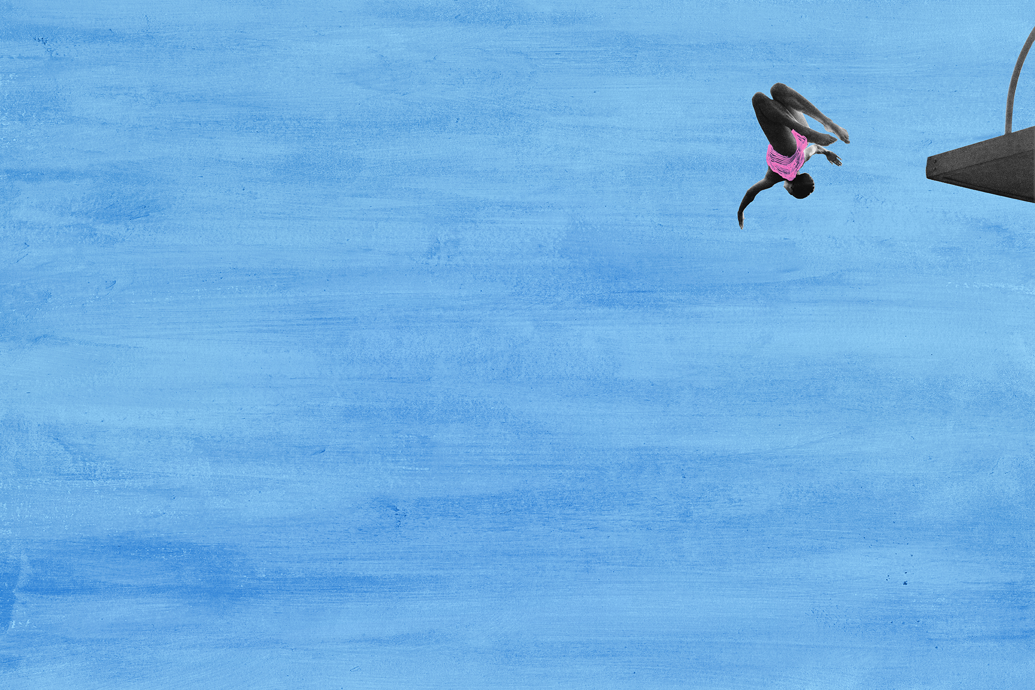 Photograph of woman in mid-air diving from platform combined with graphic paint strokes