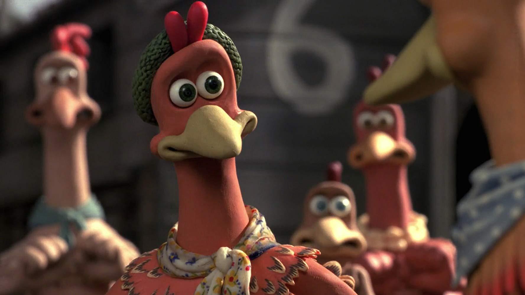 Ginger, an animated chicken wearing a beanie, in Chicken Run