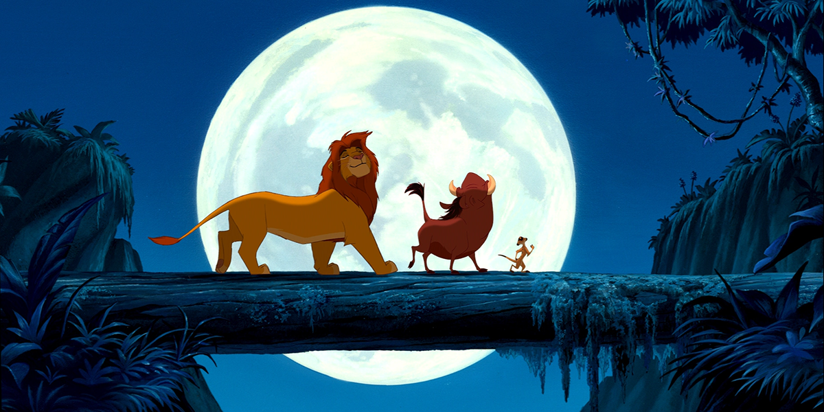 Animated scene of a lion, warthog, and meerkat walking across a fallen tree with a large full moon in the background
