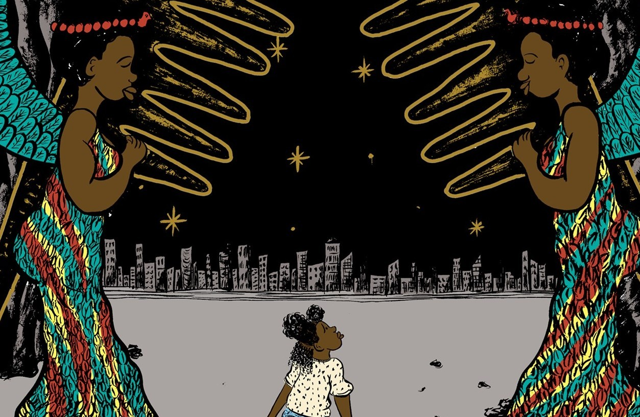 an illustration of a Black girl walking through the streets with two Black goddesses holding hot combs