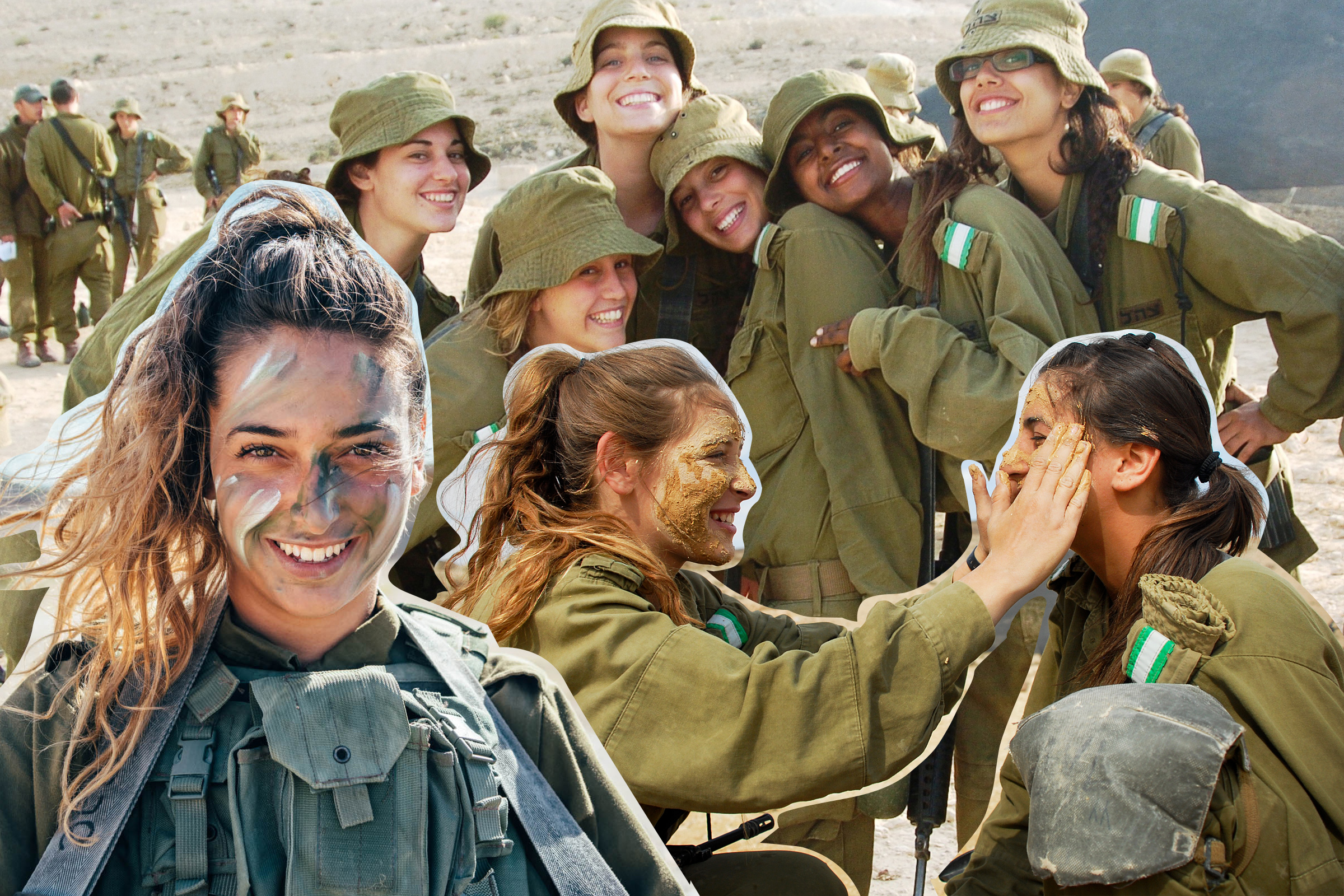 a collage of Israeli women in the IDF posing together, smiling, and touching each other's faces