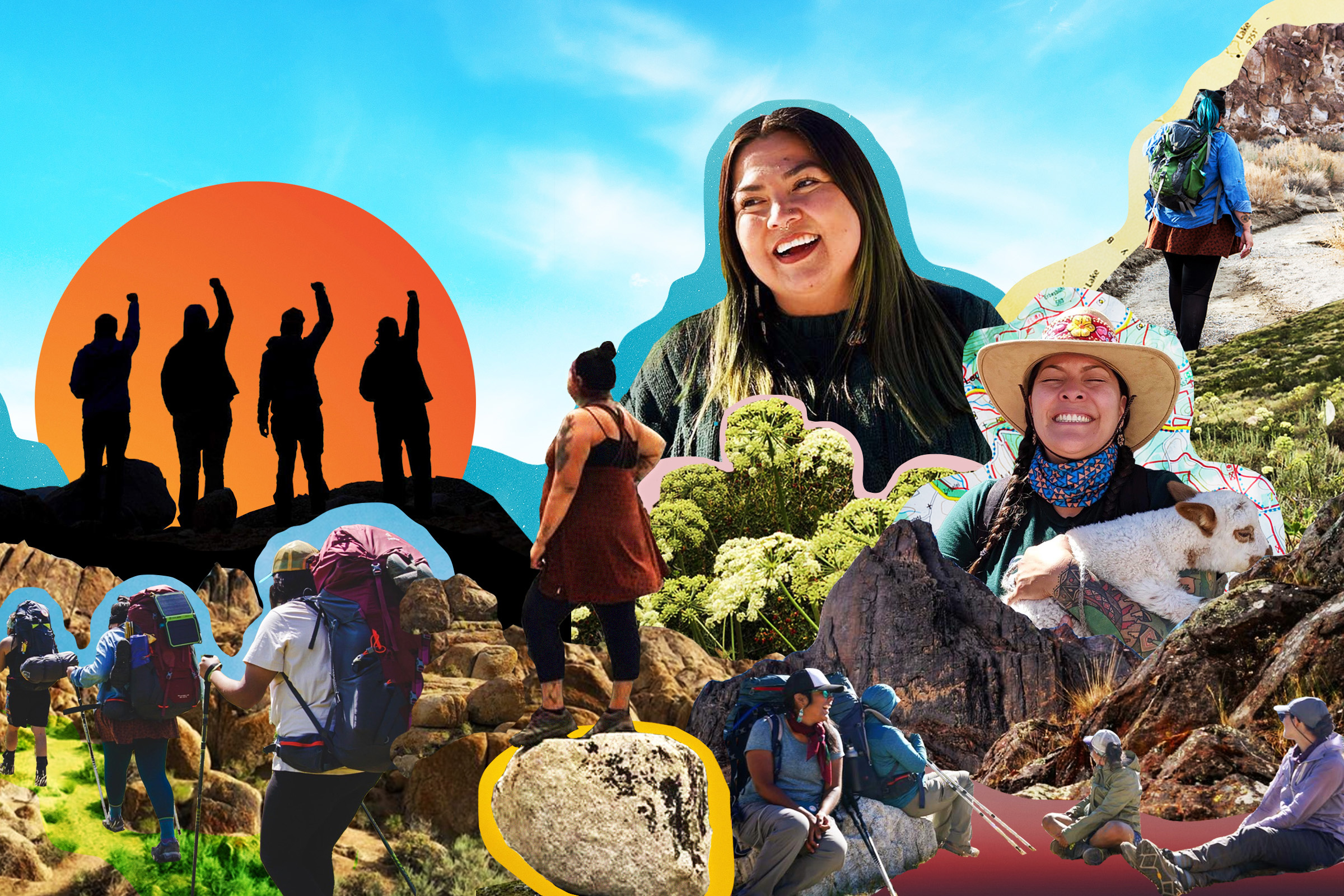 a collage of Indigenous women hiking through the mountains