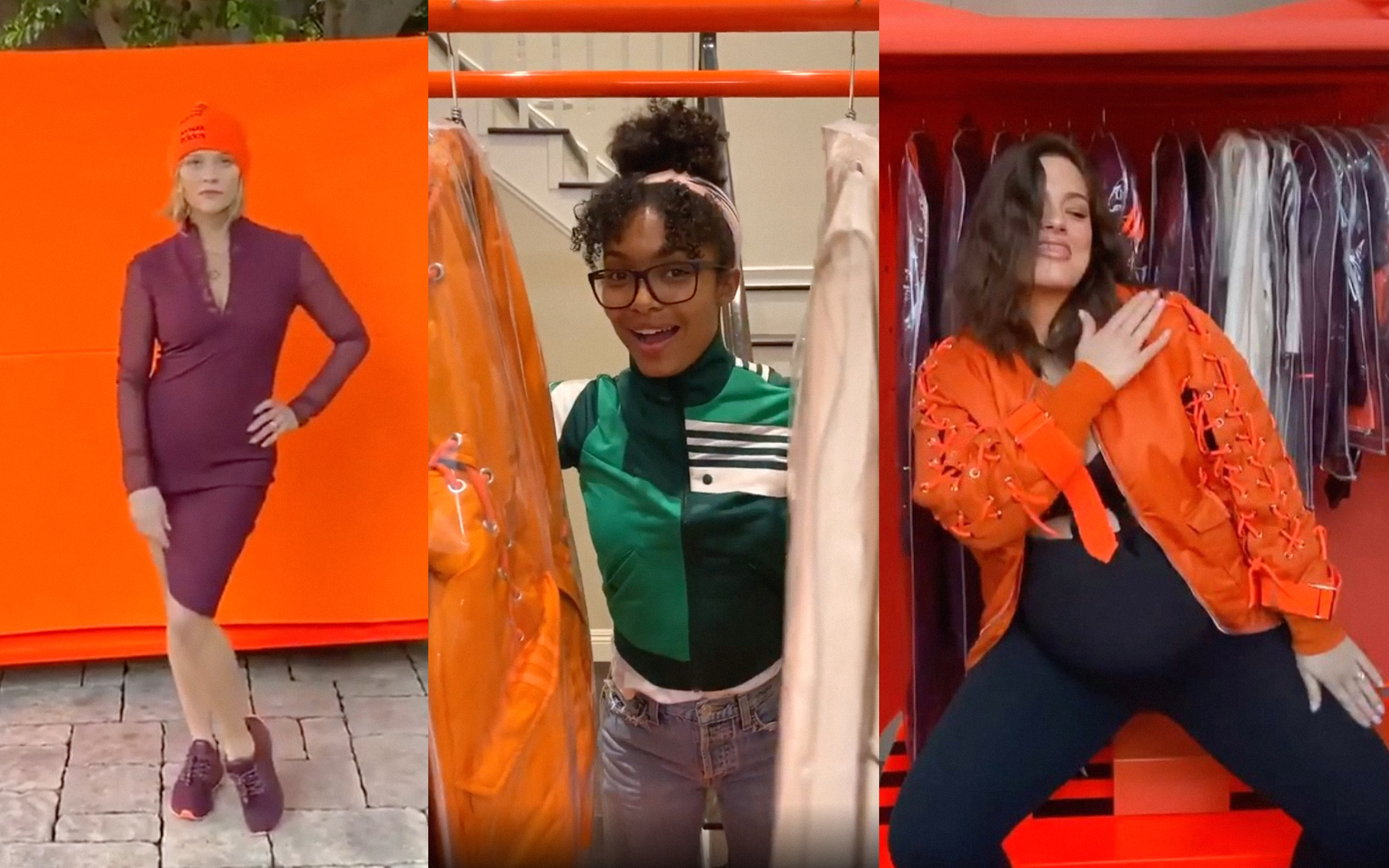 Reese Witherspoon, Yara Shahidi, and Ashley Graham with pieces from the Ivy Park x Adidas collection