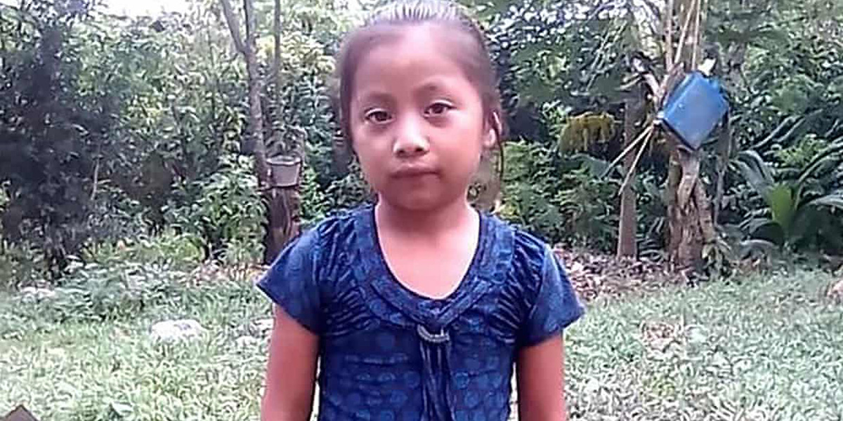 A grainy photo of seven-year-old Jakelin Caal Maquin wearing a blue shirt with trees in the background