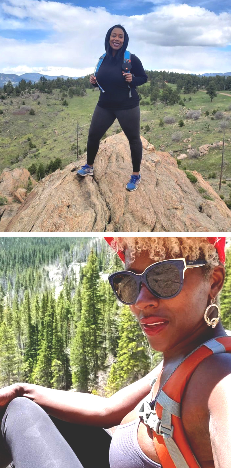 Two stacked photos of two Black women outdoors. The top photo shows a Black woman wearing black hoodie, smiling and standing on a boulder. The bottom photo is of a Black woman with short blond curly hair, taking a selfie with pine trees in the distance