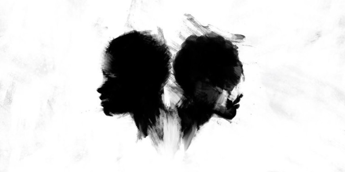 Two shadowy silhouettes of faces pointing in opposite directions against a white background