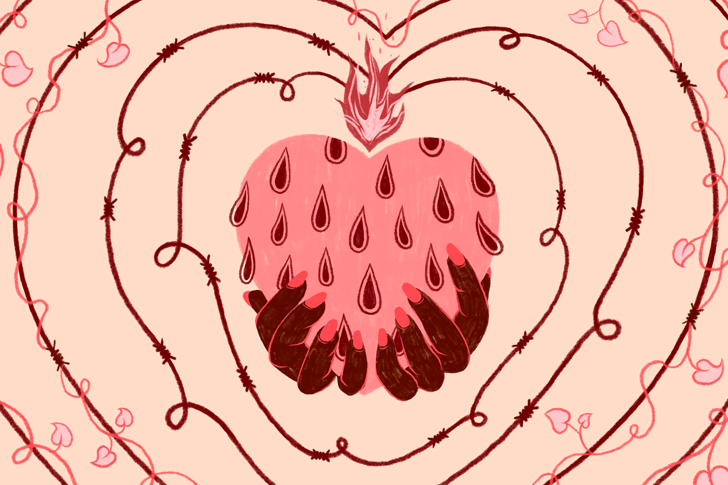 illustration of a Black woman's hands holding a heart that resembles a strawberry