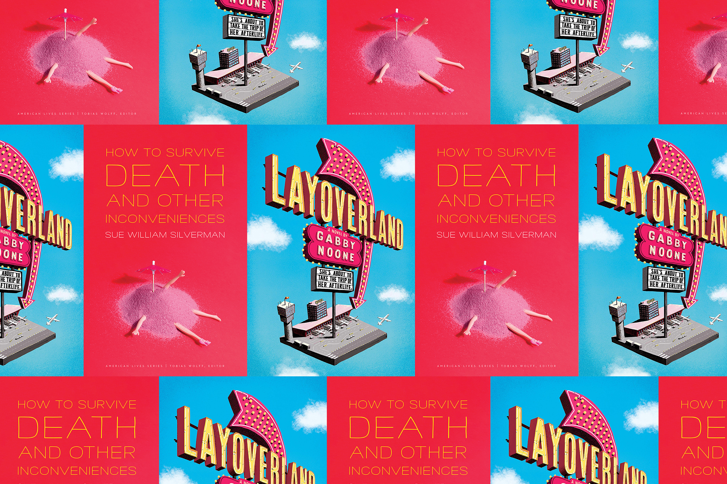 two books: Layoverland, a blue cover that features an illustration of a hotel in the sky, and How to Survive Death and Other inconveniences, a red book cover that features a Barbie buried in sand, are overlayed
