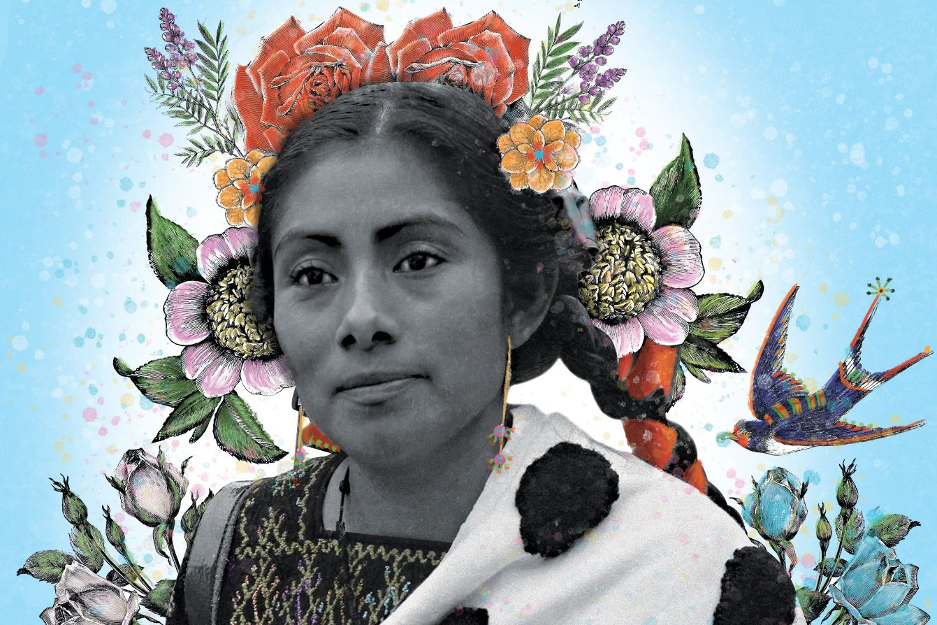 Black and white photo of Lupita, a Tsostil Maya massacre survivor with long dark braids and illustrations of brightly colored flowers around her head like a crown.