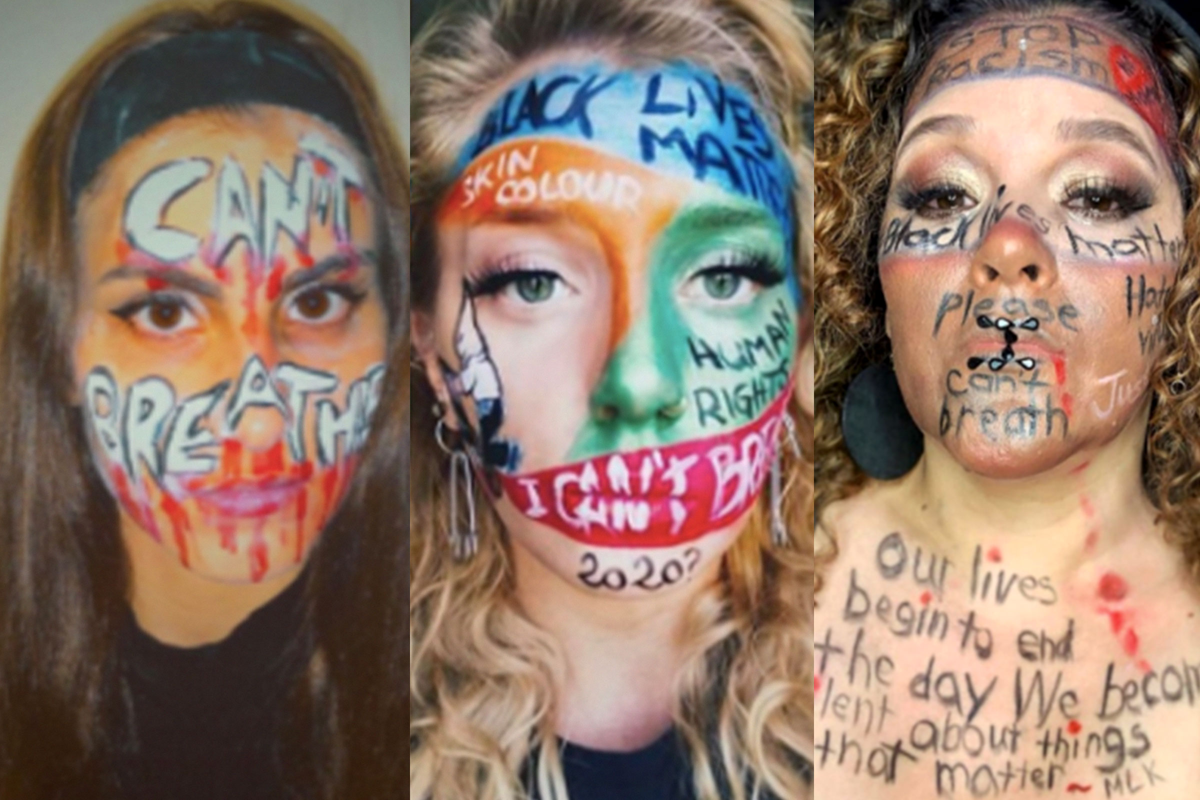 "A collage of three women, each displaying messaging of ""I can't breathe."""