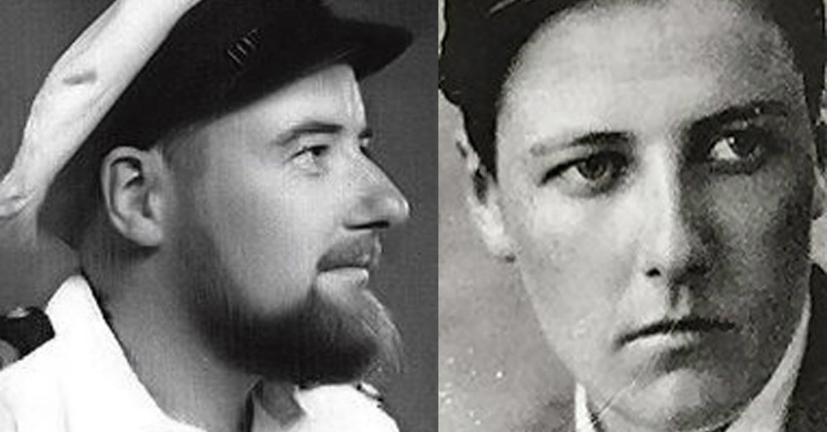 a side-by-side black and white photo of a man wearing a sailor cap and a man with brown short hair