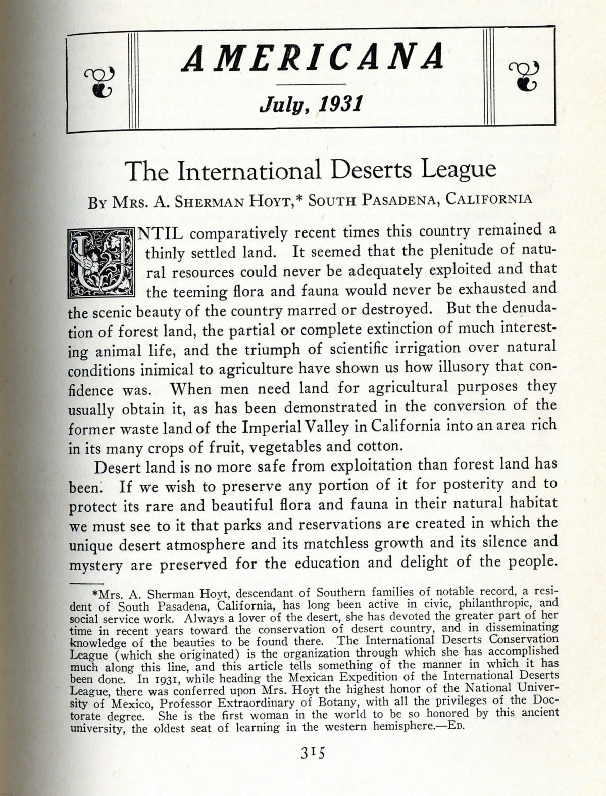 Ephemera from The International Deserts League founded by Minerva Hamilton Holt in March 1930