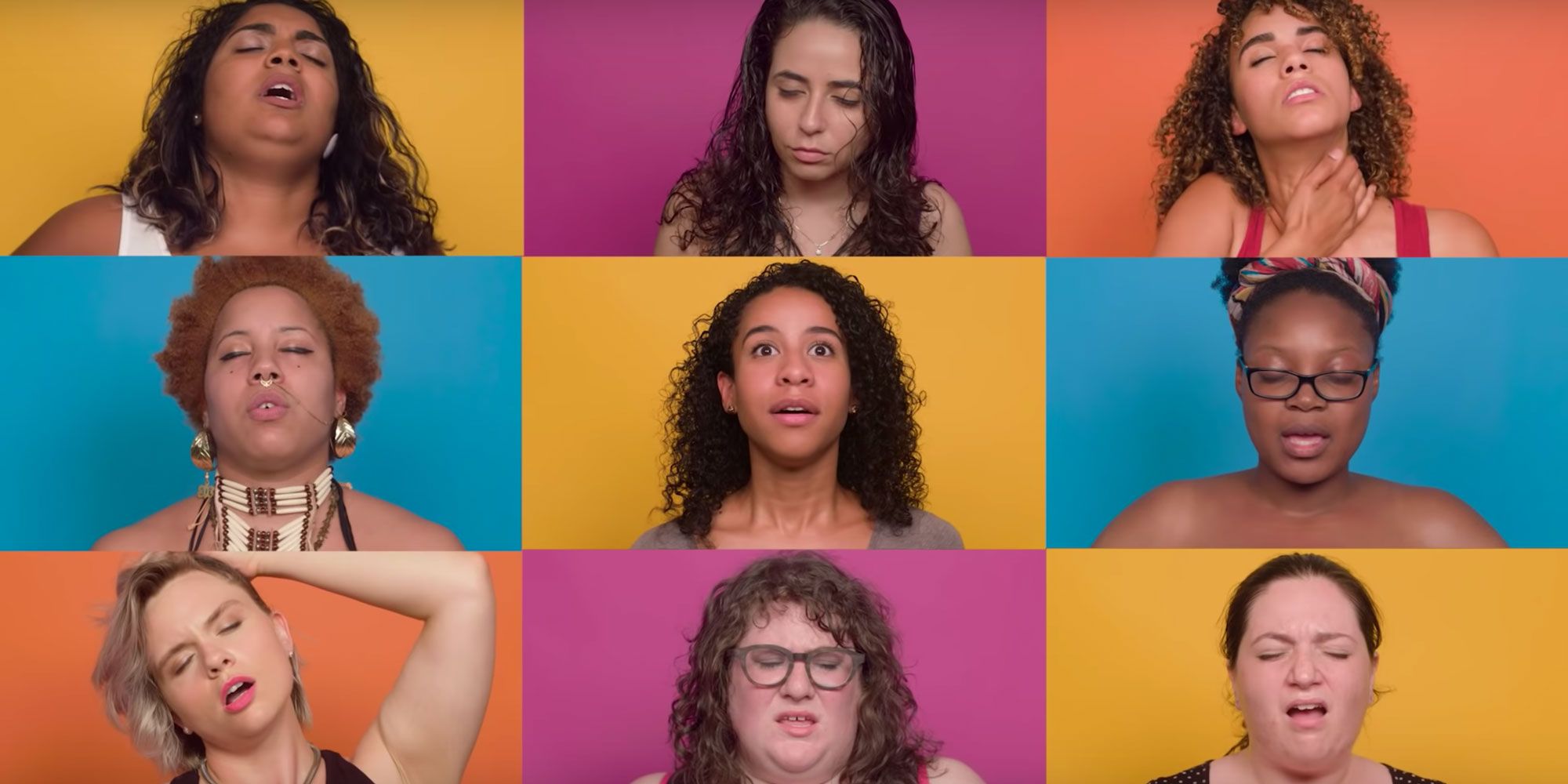 a grid of the ecstatic faces of nine women engaged in self-pleasure