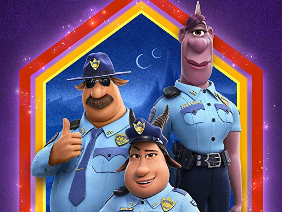"""Three animated and purple figures wearing police uniforms stand against a colorful background with the word """"Onward"""" displayed prominently"""