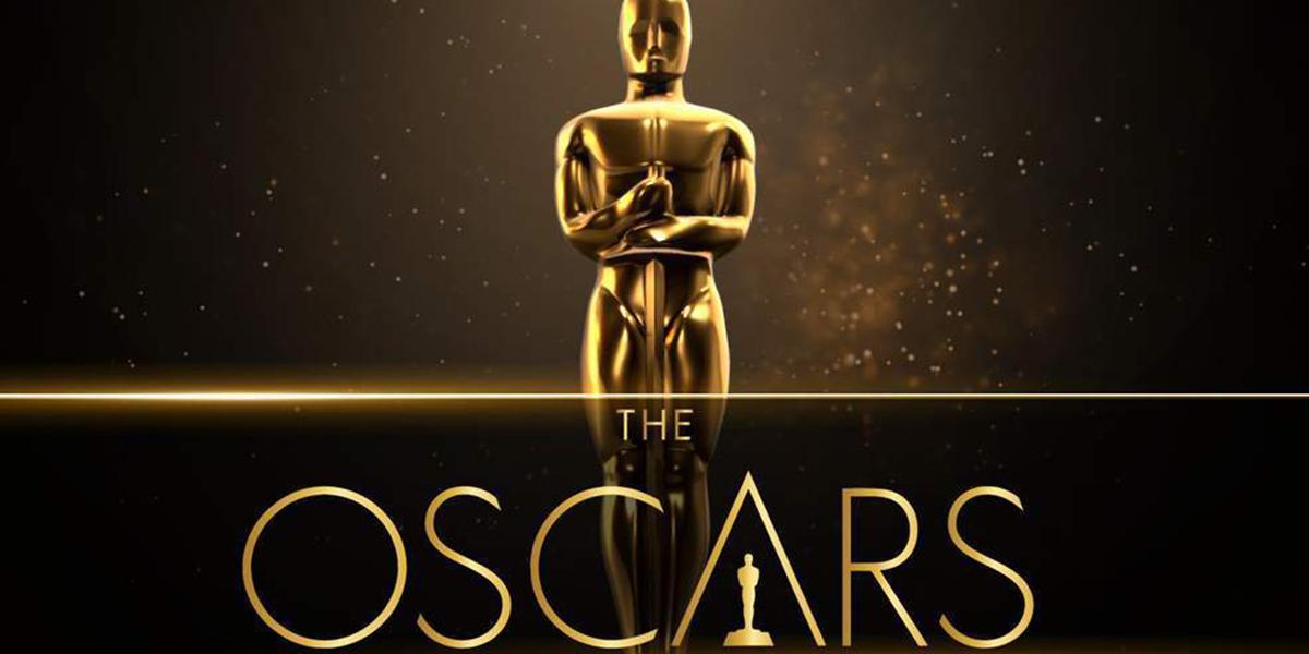A gold Oscars trophy behind the Oscars logo against black text