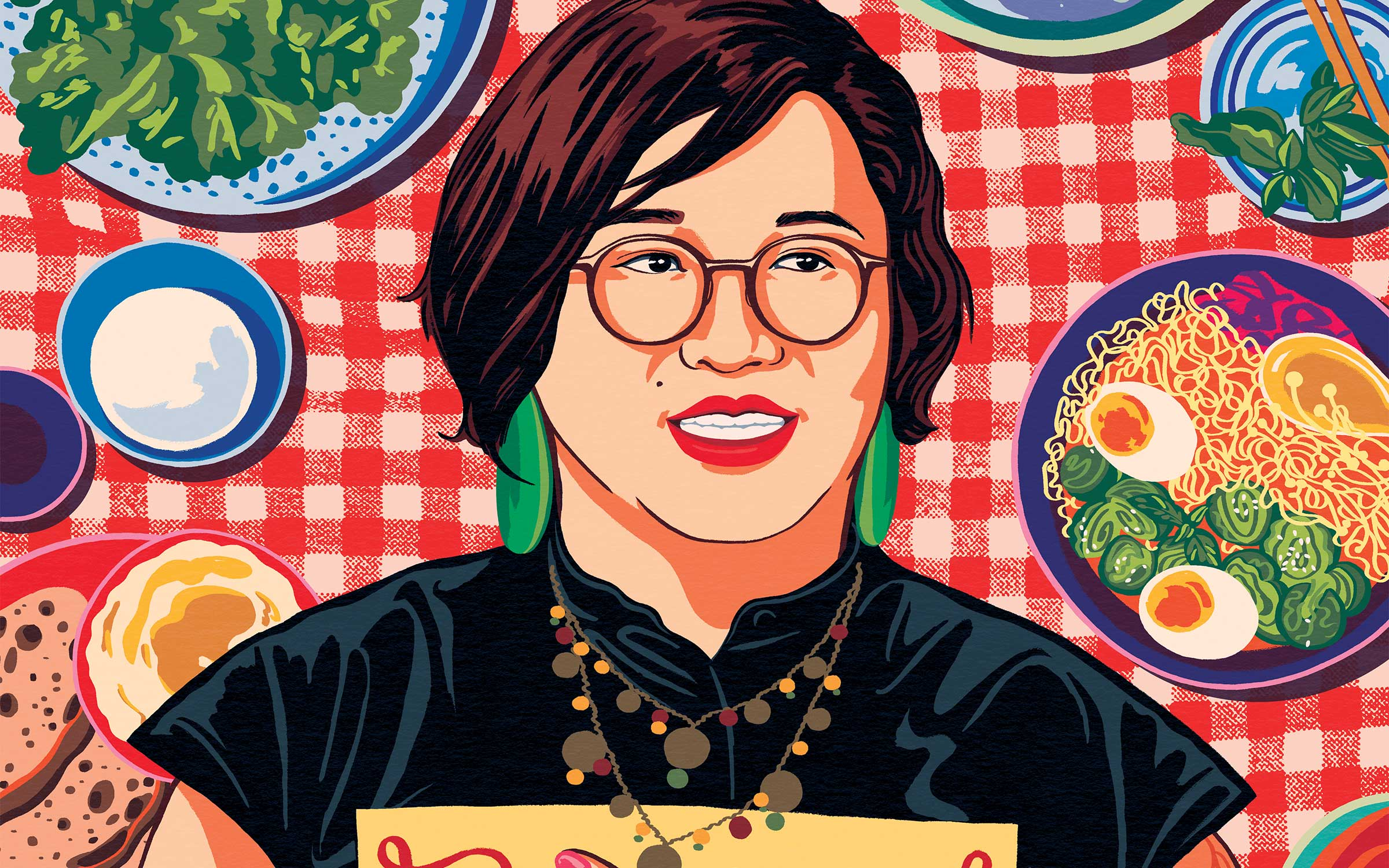 an illustration of restaurant critic Soleil Ho, an Asian woman with short brown hair, in glasses, green earrings, and red lipstick. She is holding a menu while standing in front of a red checkered pattern surrounded by different plates of food