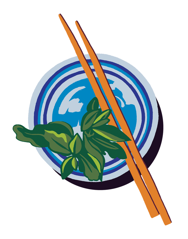 a small blue plate with a sprig of mint and a pair of wooden chopsticks resting on top