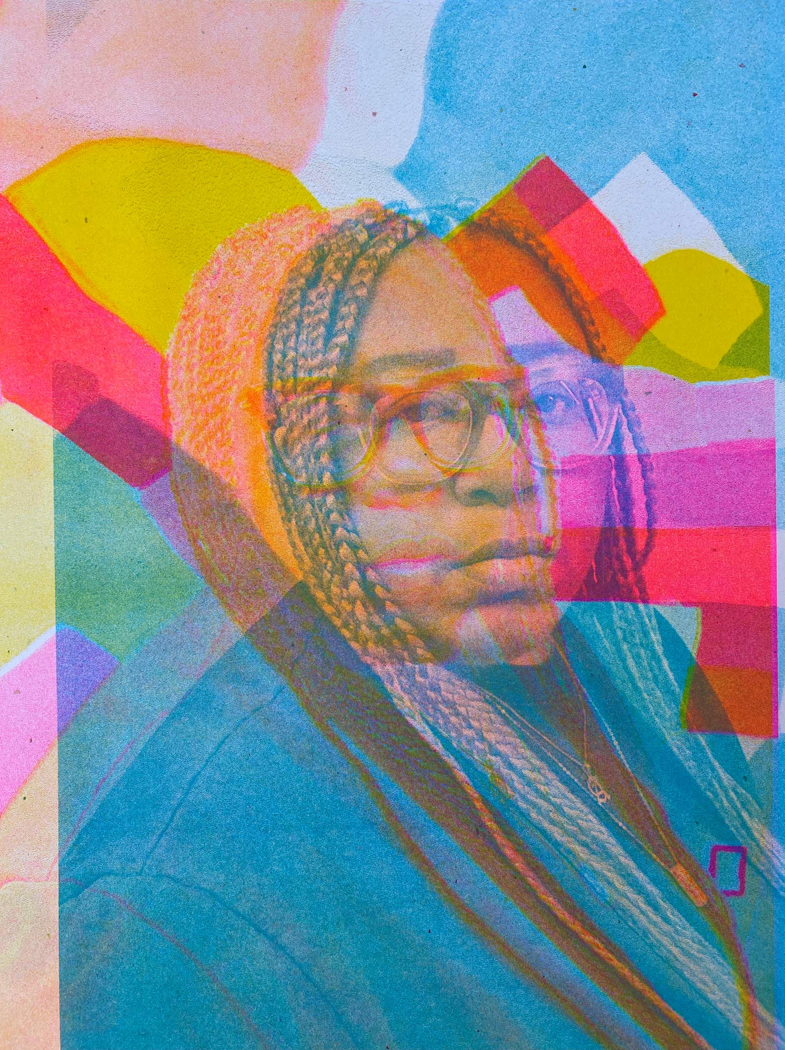 a Risograph self-portrait of artist Adee Roberson, a Black woman with long light brown braids, wearing thick clear glasses and a sweatshirt. Adee appears offset in the print surrounded by pink, blue, yellow, and orange shapes at varying opacities
