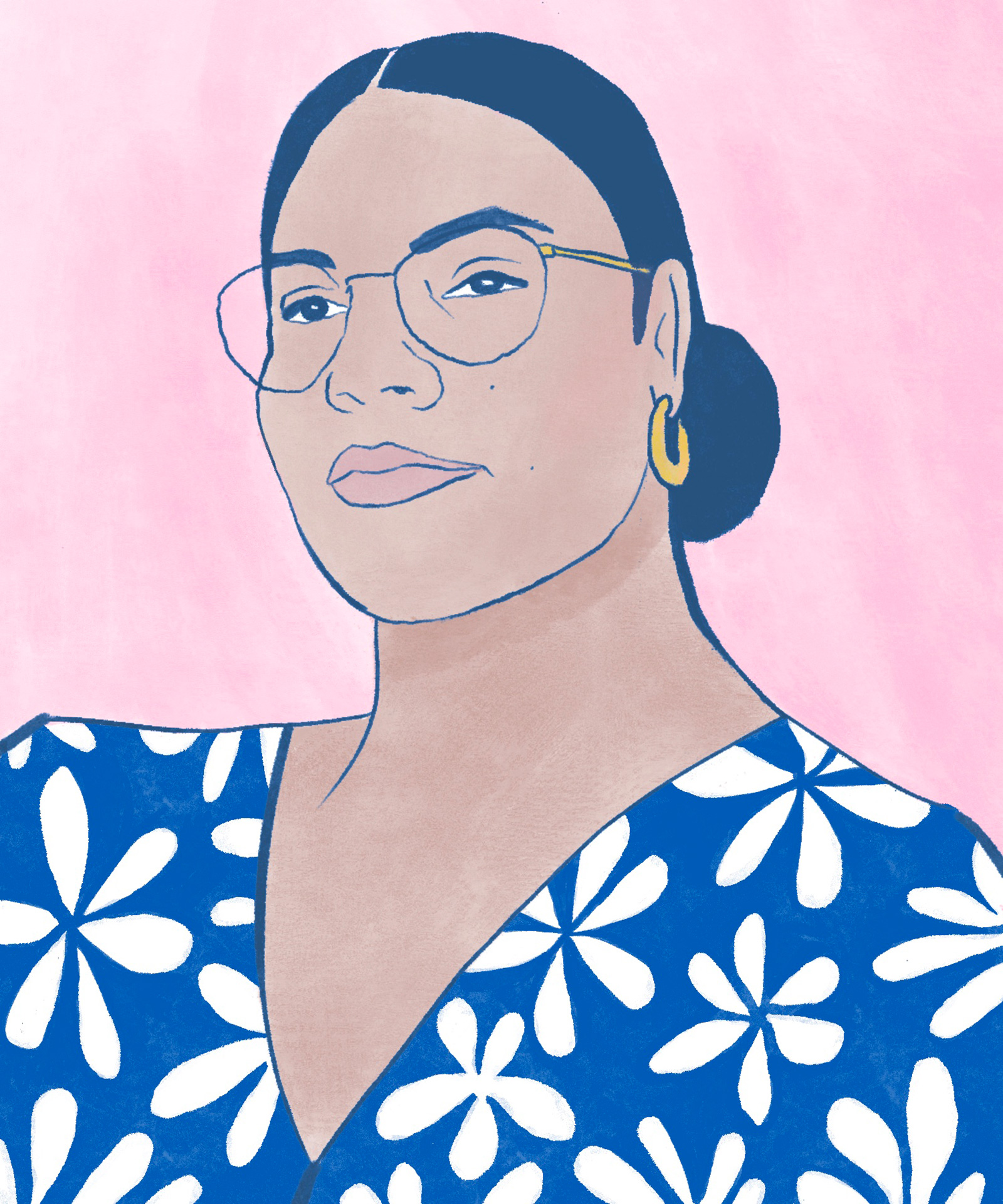 illustrated self-portrait of artist Alexandra Bowman, a mixed-race Black woman wearing a blue top patterned with white flowers. She is wearing thin-rimmed glasses, small gold hoops, and has her hair tied back in a low bun
