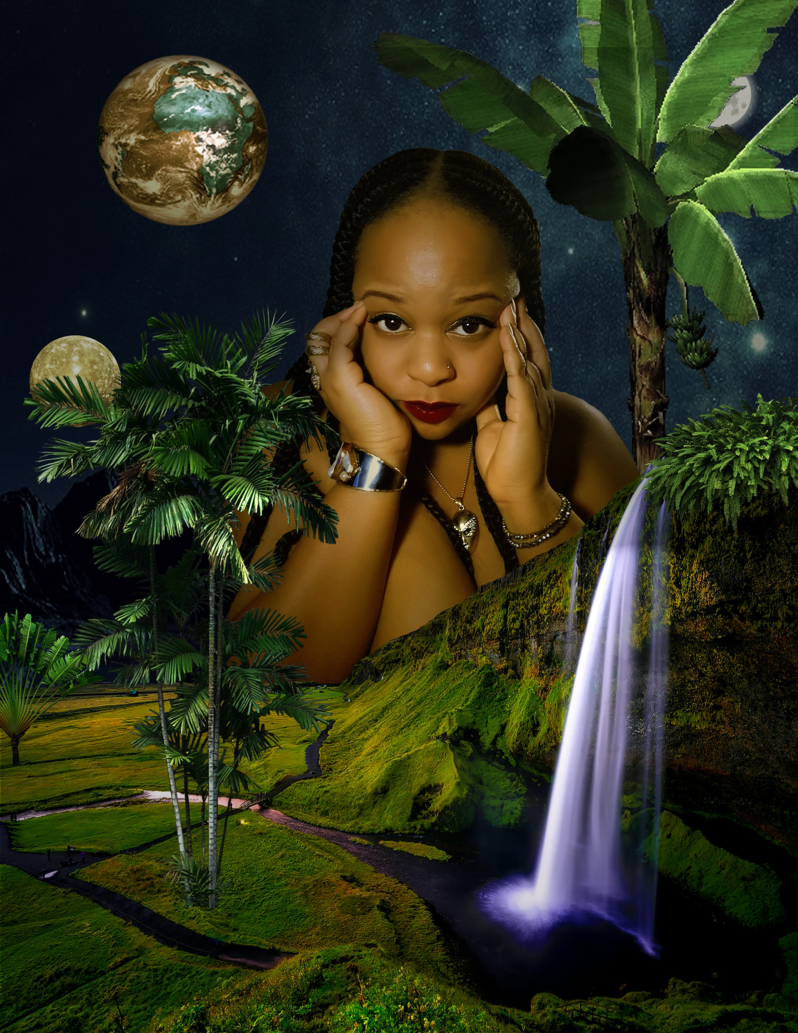 a self-portrait of Andrea Cauthen, a Black woman with slicked hair, wearing gold jewelry, raising her hands by her temples. She is collaged in a tropical environment, surrounded by palm trees, a waterfall, and rising moon, with earth in the background