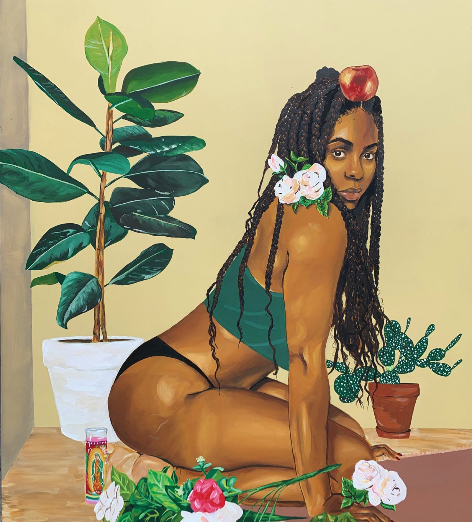 a self-portrait of artist Ari Brielle, a Black woman with long braids, kneeling on the ground surrounded by plants, flowers, and a prayer candle. She is wearing a green crop top and black bottoms while balancing an apple on her head