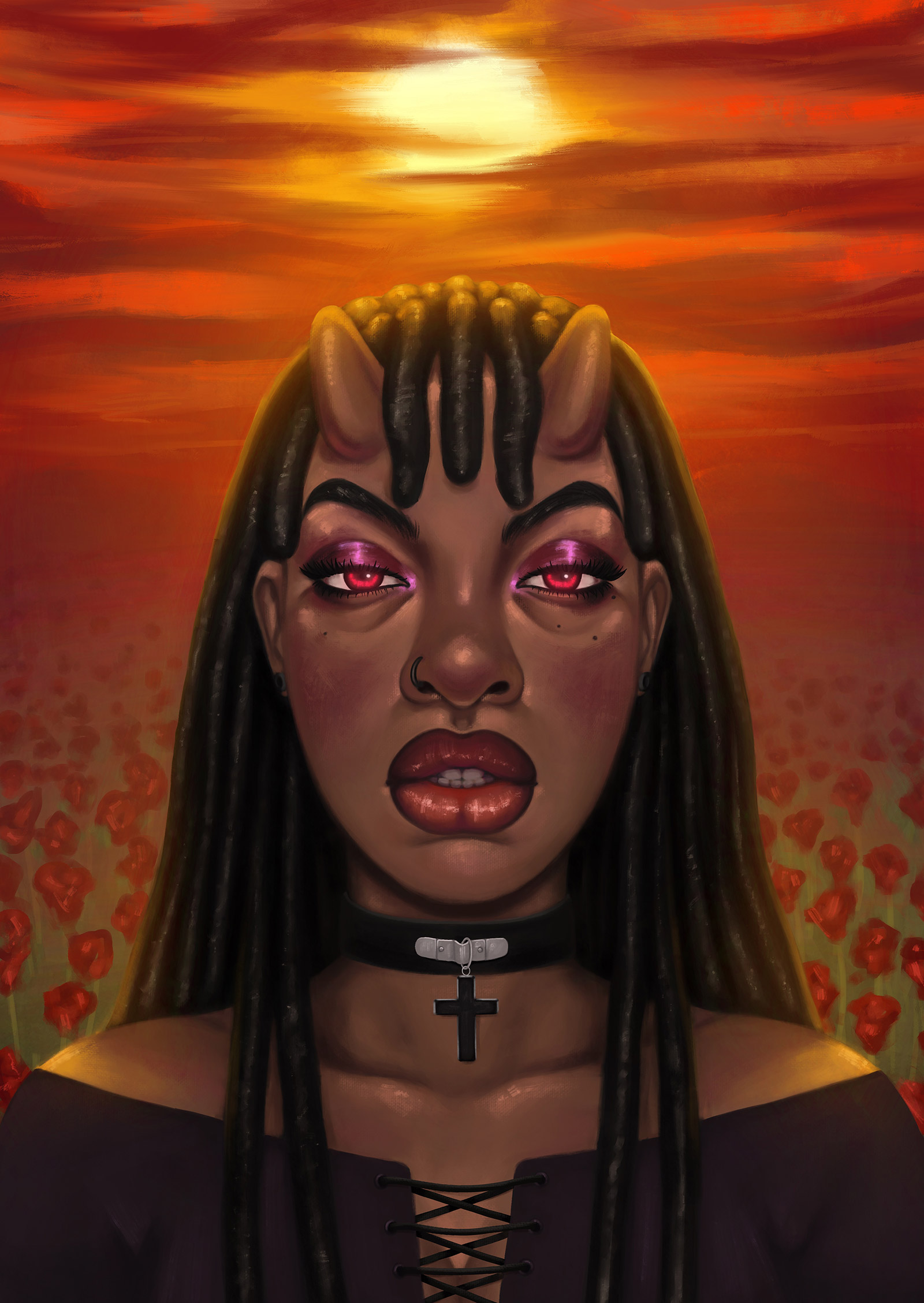 an illustrated self-portrait of Bolu Sowoolu, a Nigerian artist with red eyes, long locks, and a horned forehead, wearing an off-shoulder black top, choker with a cross pendant, magenta eyeshadow, with a field of red flowers and sunset behind her