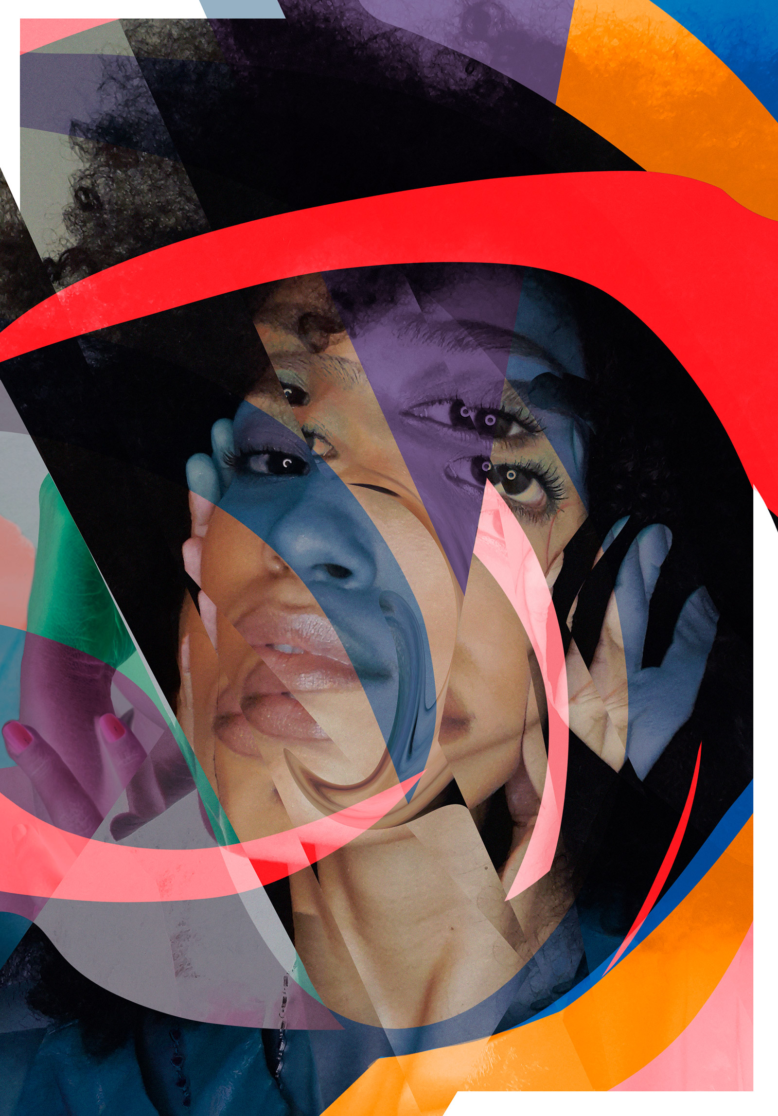 a self-portrait of artist Kellem Monteiro, an Afro Brazilian woman with a dark afro, collaged together with segmented pieces of a photo mixed with circular color-blocked shapes