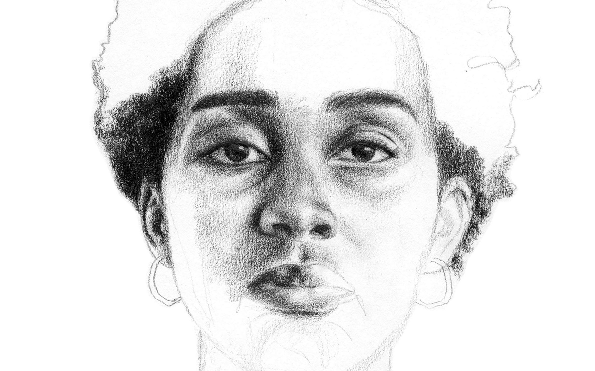 cropping of a black and white portrait sketch of a Black woman with short hair, her features are more detailed in the center of her face, while the top of her hair, chin, and neck are lightly outlined