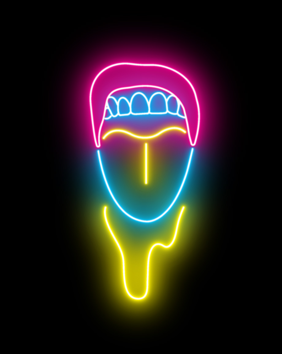 """a vector illustration outlined in neon blue, yellow, and pink, of a open mouth with its tongue out as liquid drips down, reminiscent of Megan Thee Stallion in the music video for """"WAP"""""""