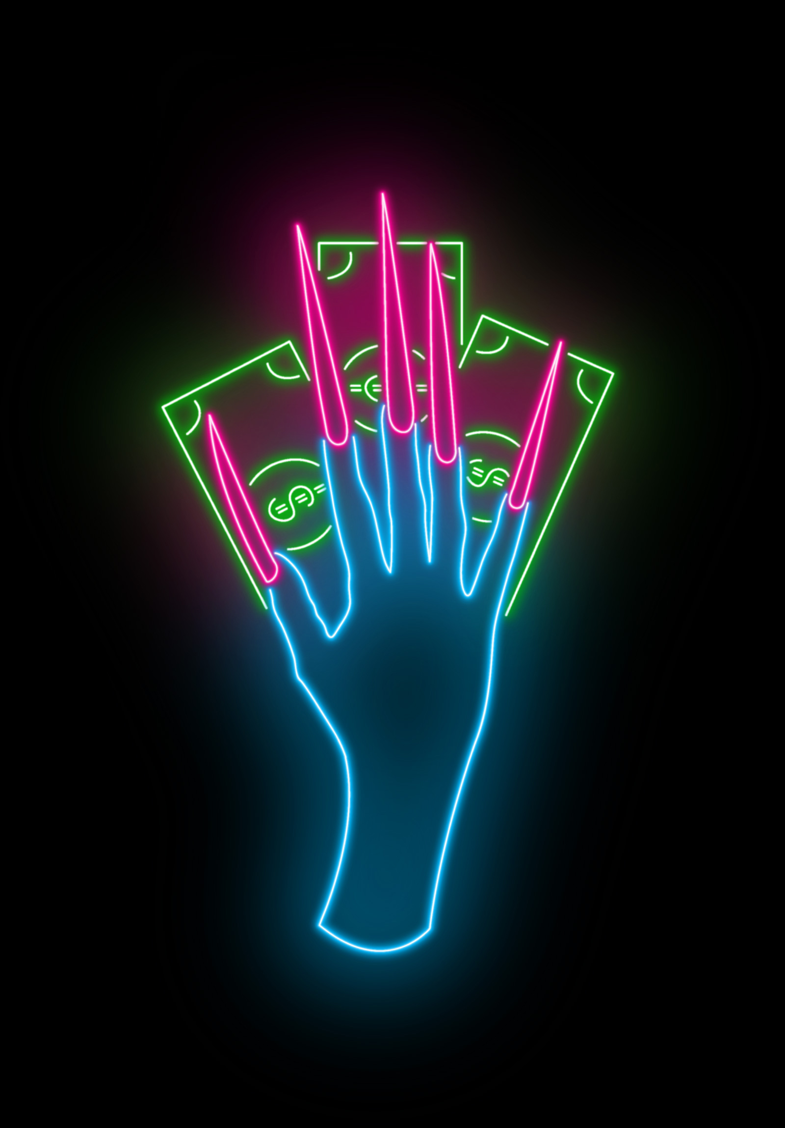 """an outlined vector illustration of a neon blue hand, with long sharply-pointed neon pink nails on top of three green dollar bills, reminiscent of Cardi B's hand in the music video for """"WAP"""""""