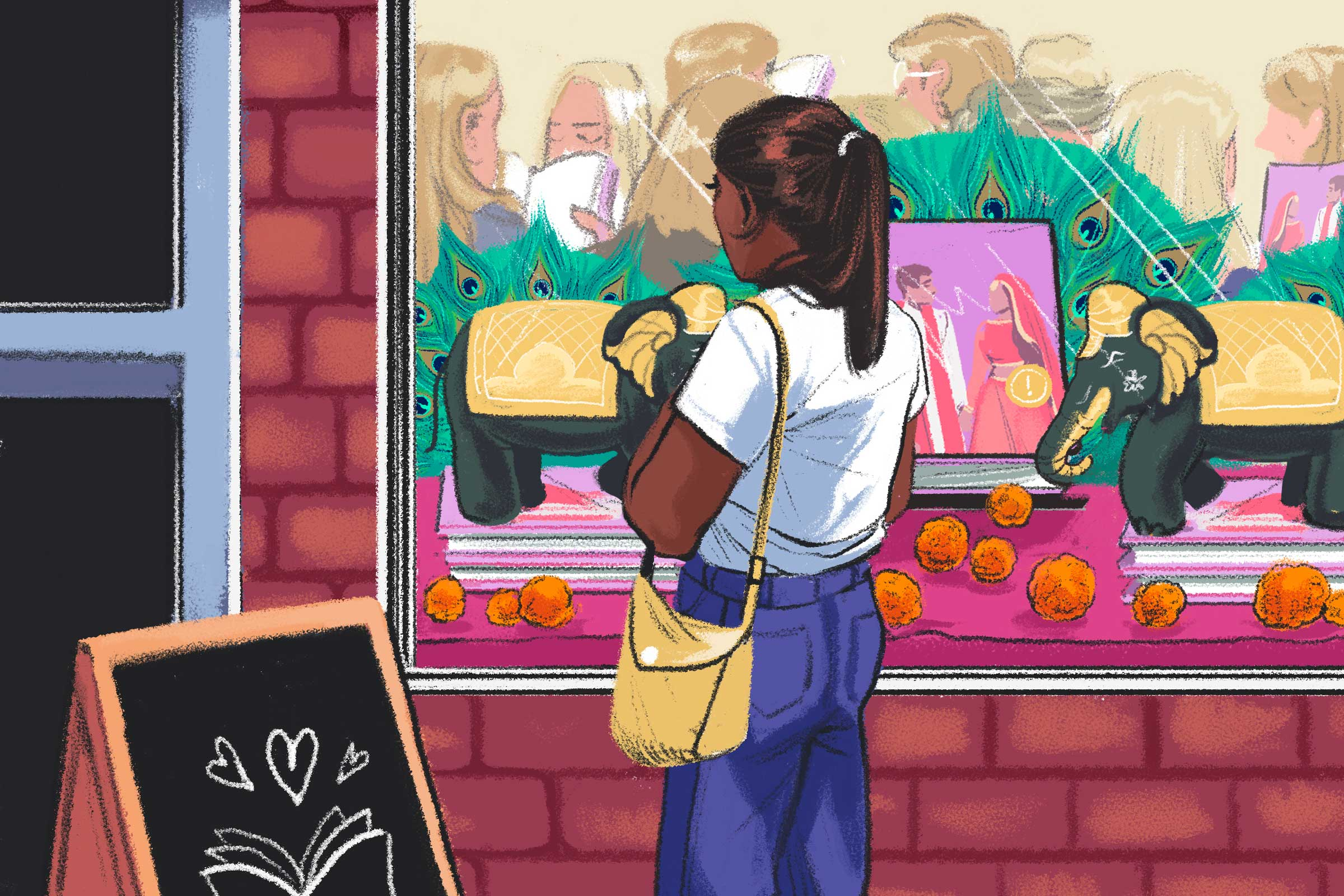 illustration of a South Asian woman outside of a bookstore observing a crowd of white people gathered inside for a South Asian romance novel event.