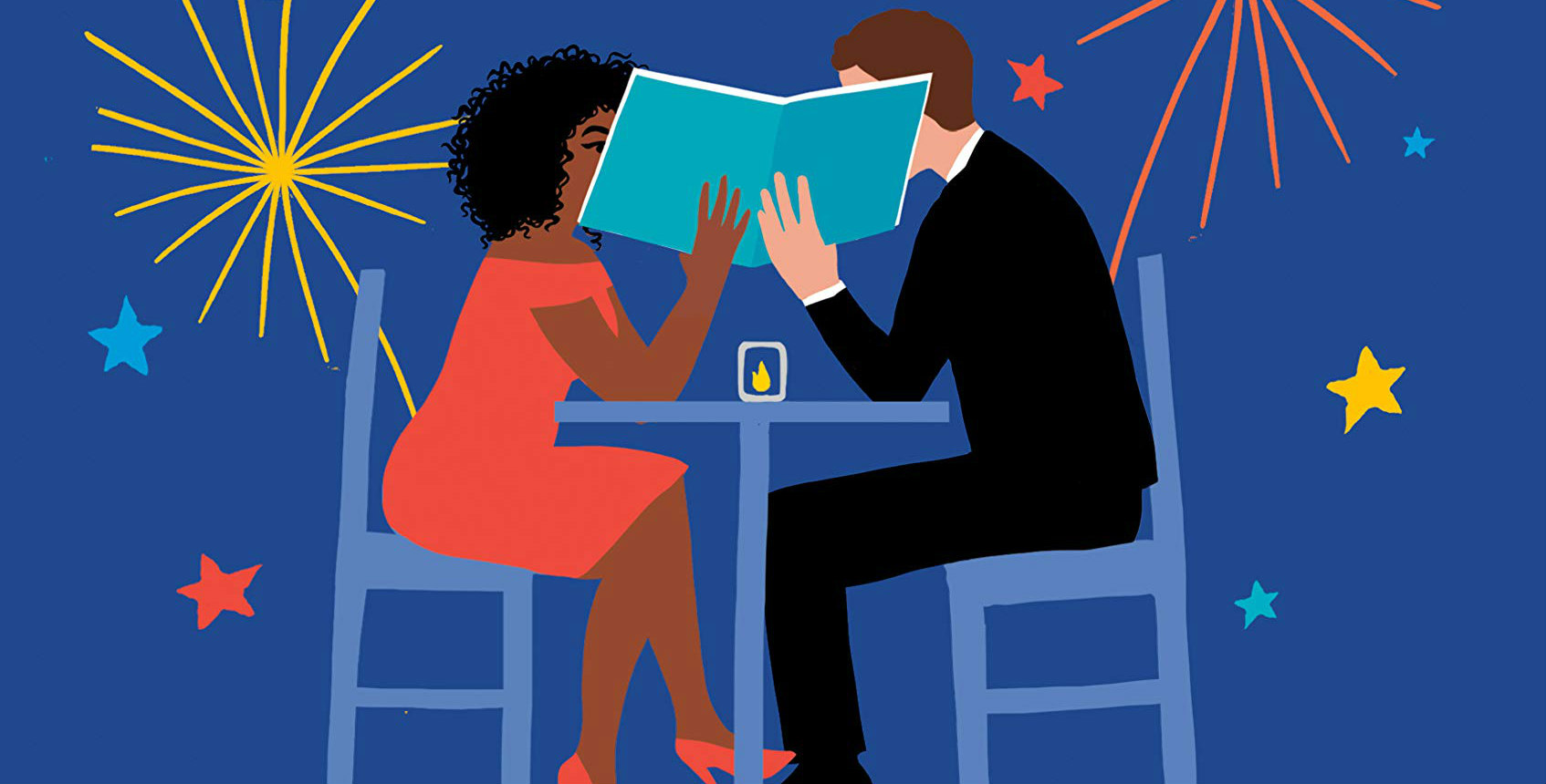 Party of Two, a blue book cover that features an illustration of a couple sitting together at a table
