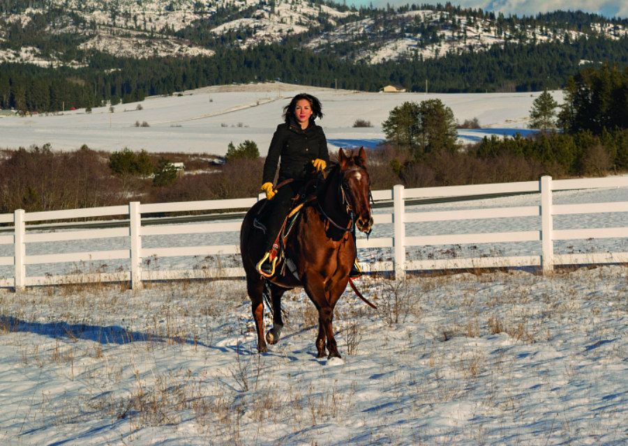 Paulette Jordan riding a horse