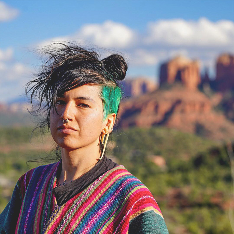 Photo of a queer brown person with black and green hair, nose ring, and a colorful striped shirt, standing outside with mountains in the background